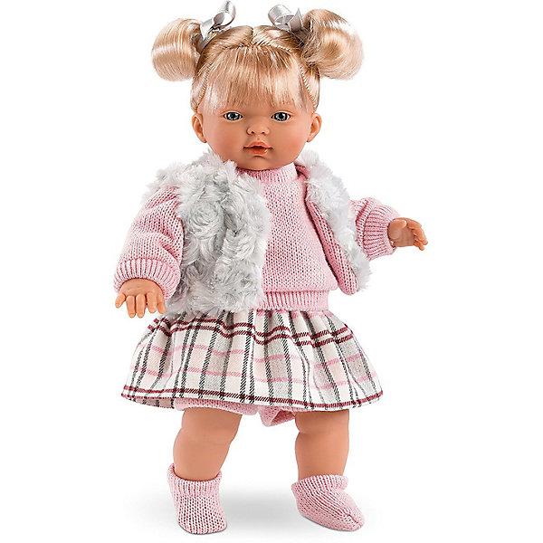 Кукла Llorens Изабелла 33 см со звукомКуклы<br>Характеристики:<br><br>• тип игрушки: кукла;<br>• возраст: от 3 лет;<br>• материал: ПВХ, текстиль, полиэфирное волокно;<br>• цвет: белый, розовый;<br>• высота куклы: 33 см;<br>• вес: 660 гр;<br>• размер: 37х13х20 см;<br>• страна бренда: Испания;<br>• бренд: Llorens.<br><br>Кукла Llorens «Изабелла» 33 см со звуком танет отличным подарком для любой девочки. Игрушка выполнена из приятного на ощупь материала, нарядно одета и умеет плакать и произносить слова. Благодаря детально прорисованным чертам она необычайно похожа на настоящего младенца.<br><br>Кукла от Llorens отличается необычайной реалистичностью. Эта малышка по имени Изабелла очарует свою хозяйку голубыми глазками, пухлыми губками и правдоподобными волосами светлого цвета, заплетёнными в хвостики. На коленях и кистях куклы можно рассмотреть складочки, которые делают игрушку еще более реалистичной. <br><br>Главный секрет  кукол Llorens кроется в очаровательной белой пустышке на цепочке. Она мгновенно успокаивает плачущего малыша. К тому же он умеет говорить главные для любого младенца слова – мама и папа. Благодаря специальной прищепке для одежды можно не беспокоиться, что соска потеряется.<br><br>Куклу Llorens «Изабелла» 33 см со звуком можно купить в нашем интернет-магазине.<br>Ширина мм: 37; Глубина мм: 15; Высота мм: 20; Вес г: 660; Возраст от месяцев: 36; Возраст до месяцев: 72; Пол: Женский; Возраст: Детский; SKU: 7905766;