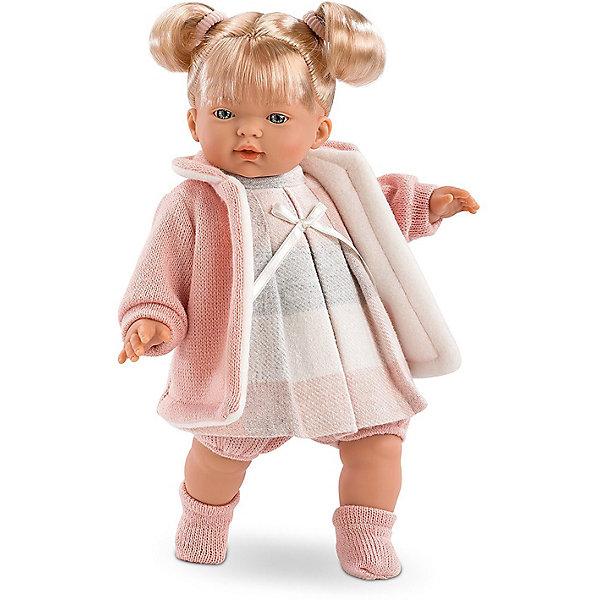 Кукла Llorens Айтана 33 см со звукомКуклы<br>Характеристики:<br><br>• тип игрушки: кукла;<br>• возраст: от 3 лет;<br>• материал: ПВХ, текстиль, полиэфирное волокно;<br>• цвет: белый, бежевый;<br>• высота куклы: 33 см;<br>• вес: 660 гр;<br>• размер: 37х13х20 см;<br>• страна бренда: Испания;<br>• бренд: Llorens.<br><br>Кукла Llorens «Айтана» 33 см со звуком танет отличным подарком для любой девочки. Игрушка выполнена из приятного на ощупь материала, нарядно одета и умеет плакать и произносить слова. Благодаря детально прорисованным чертам она необычайно похожа на настоящего младенца.<br><br>Кукла от Llorens отличается необычайной реалистичностью. Айтана – это жизнерадостная светловолосая девчушка с пухлыми щёчками, курносым носиком, выразительными голубыми глазками и причёской из двух задорных хвостиков. Каждая деталь прорисована очень чётко. Ваша дочка будет в восторге не только от внешнего вида, но и от наряда своей новой подружки. Кукла одета в милое утеплённое платье в розово-серую клетку с атласным бантиком на груди, короткие шортики и вязаное пальтишко с капюшоном розового цвета.  Комплект дополняют прелестные вязаные носочки в тон.<br><br>Главный секрет кукол Llorens кроется в очаровательной белой пустышке на цепочке. Она мгновенно успокаивает плачущего малыша. К тому же он умеет говорить главные для любого младенца слова – мама и папа. Благодаря специальной прищепке для одежды можно не беспокоиться, что соска потеряется.<br><br>Куклу Llorens «Айтана» 33 см со звуком можно купить в нашем интернет-магазине.<br>Ширина мм: 37; Глубина мм: 15; Высота мм: 20; Вес г: 660; Возраст от месяцев: 36; Возраст до месяцев: 72; Пол: Женский; Возраст: Детский; SKU: 7905774;