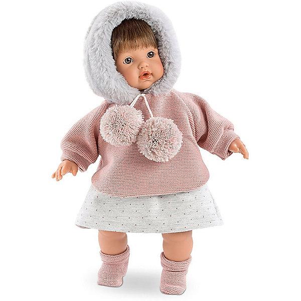 Кукла Llorens Айсель 33 см со звукомБренды кукол<br>Характеристики:<br><br>• тип игрушки: кукла;<br>• возраст: от 3 лет;<br>• материал: ПВХ, текстиль, полиэфирное волокно;<br>• цвет: белый, бежевый;<br>• высота куклы: 33 см;<br>• вес: 660 гр;<br>• размер: 37х13х20 см;<br>• страна бренда: Испания;<br>• бренд: Llorens.<br><br>Кукла Llorens «Айсель» 33 см со звуком танет отличным подарком для любой девочки. Игрушка выполнена из приятного на ощупь материала, нарядно одета и умеет плакать и произносить слова. Благодаря детально прорисованным чертам она необычайно похожа на настоящего младенца.<br><br>Кукла от Llorens отличается необычайной реалистичностью.  Айсель – это очаровательная девчушка с русыми, шёлковыми волосиками, пухлыми щёчками, курносым носиком, выразительными карими глазками и яркими губками. Каждая деталь прорисована очень чётко. Ваша дочка будет в восторге не только от внешнего вида, но и от наряда своей новой подружки. Кукла одета в расклешённую серую юбочку в мелкий горошек и тёплую кофту-худи цвета пепельной розы, украшенную двумя забавными помпонами и опушкой из искусственного меха.  Комплект дополняют прелестные вязаные носочки в тон основной одежде.<br><br>Главный секрет кукол Llorens кроется в очаровательной белой пустышке на цепочке. Она мгновенно успокаивает плачущего малыша. К тому же он умеет говорить главные для любого младенца слова – мама и папа. Благодаря специальной прищепке для одежды можно не беспокоиться, что соска потеряется.<br><br>Куклу Llorens «Айсель» 33 см со звуком можно купить в нашем интернет-магазине.<br>Ширина мм: 37; Глубина мм: 15; Высота мм: 20; Вес г: 660; Возраст от месяцев: 36; Возраст до месяцев: 72; Пол: Женский; Возраст: Детский; SKU: 7905794;