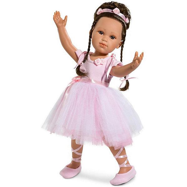 Кукла - балерина Llorens  Ольга, 42 смКуклы<br>Характеристики:<br><br>• тип игрушки: кукла;<br>• возраст: от 3 лет;<br>• материал: ПВХ, текстиль, полиэфирное волокно;<br>• цвет: розовый;<br>• высота куклы: 42 см;<br>• вес: 1,2 кг;<br>• размер: 47х15х24 см;<br>• страна бренда: Испания;<br>• бренд: Llorens.<br><br>Кукла-балерина Llorens «Ольга» 42 см выполнена из нежного, безопасного материала. Каждая деталь чётко проработана, а наряд тщательно продуман. Привлекательный внешний вид и воздушный наряд не оставят равнодушной ни одну девочку. Притягательный мир балета станет ближе с прекрасной Ольгой.<br><br>Кукла Ольга создана с любовью искусными мастерами и выглядит необычайно реалистично. Каждая черта её очаровательного личика тщательно прорисована, а изящный наряд заслуживает отдельного внимания.  У прекрасной балерины густые тёмные волосы, уложенные в высокую замысловатую причёску, карие выразительные глазки с длинными ресницами, пухлые губки и курносый носик. Девочка одета в нарядное воздушное платье розового цвета с пышной юбкой из летящего фатина, украшенное атласным пояском и тканевыми розочками. <br><br>Ольге будет удобно танцевать в милых балетках с шёлковыми лентами. Образ дополняет нежный ободок, идеально подходящий к остальному наряду. Кукла сделана из очень мягкого, приятного на ощупь материала и упакована в подарочную коробку. Она станет отличным примером для подражания. Кто знает, возможно, вашу маленькую балерину ждёт большое будущее на театральной сцене.<br><br>Куклу- балерину Llorens «Ольга» 42 см можно купить в нашем интернет-магазине.<br>Ширина мм: 47; Глубина мм: 15; Высота мм: 24; Вес г: 1170; Возраст от месяцев: 36; Возраст до месяцев: 72; Пол: Женский; Возраст: Детский; SKU: 7905804;