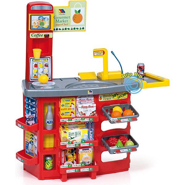 Игровой звуковой супермаркет Molto  с тележкой  (17 предметов)Детские кухни<br>Характеристики:<br><br>• тип игрушки: набор;<br>• возраст: от 3 лет;<br>• материал: пластик, картон;<br>•  комплектация: прилавок супермаркета с двумя подвесными полочками, касса, весы, кофеварка, лимон - 2 шт., мандарин - 2 шт., помидор - 2 шт., яблоко, груша, баночка кока-колы - 2 шт., бутылка молока, стаканчик для кофе, коробка-муляж с мюсли, коробка-муляж с кофе, коробка-муляж со средством для мытья посуды, коробка-муляж с печеньем, коробка-муляж с салфетками, тележка;<br>• тип батареек: 2хLR41;<br>• наличие батареек: входят в комплект;<br>• вес: 2,3 кг;<br>• размер: 65х20х56 см;<br>• страна бренда: Испания;<br>• бренд: Molto.<br><br>Игровой звуковой супермаркет Molto  с тележкой  (17 предметов) позволит детям устроить прямо в детской комнате миниатюрный супермаркет, ведь в их распоряжении будет этот тематический игровой набор. В нем представлен не только обязательный атрибут любого магазина – прилавок с кассой, но и различные имитации товаров в виде продуктов, круп и других изделий.<br><br>Дети с удовольствием станут участниками игры, по сюжету которой один из них станет продавцом супермаркета, а другой его покупателем. В этом им поможет реалистичная игровая конструкция с прилавком, на котором можно разместить все товары из комплекта: фрукты, коробочки и другие. А складывать свои покупки кроха будет в удобную вместительную тележку с ручкой и вращающимися колесиками.<br>На кассе супермаркета предусмотрен сканер, с помощью которого продавец будет считывать штрих-коды, а сам это процесс будет сопровождаться реалистичным звуковым сигналом. <br><br>Игровой набор поможет крохам разнообразить их досуг и интересно провести время, а также развить фантазию и образное мышление. Конструкция прилавка и тематические аксессуары из набора выполнены из плотного картона и прочного пластика, который окрашен яркими красителями, стойкими к истиранию и выгоранию.<br><br>Игровой звуковой супермаркет Molto 