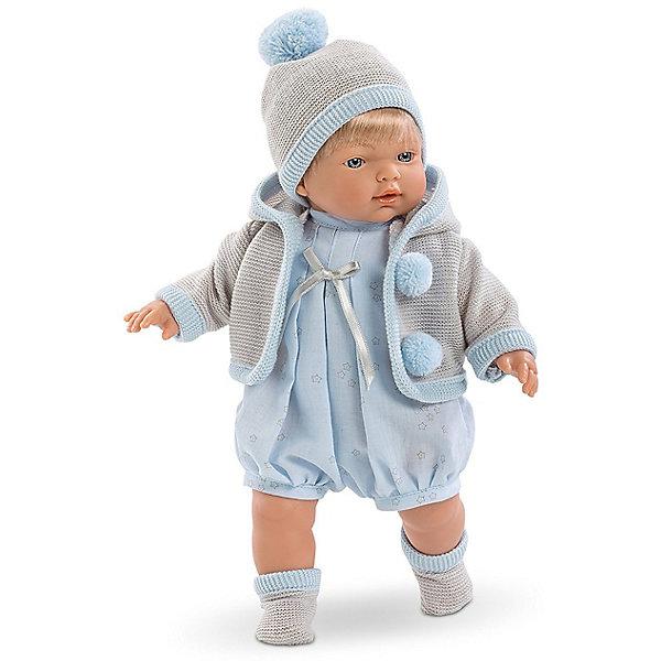 Кукла Llorens Роберт 33 см со звукомКуклы<br>Характеристики:<br><br>• тип игрушки: кукла;<br>• возраст: от 3 лет;<br>• материал: ПВХ, текстиль, полиэфирное волокно;<br>• цвет: голубой;<br>• высота куклы: 33 см;<br>• вес: 660 гр;<br>• размер: 37х13х20 см;<br>• страна бренда: Испания;<br>• бренд: Llorens.<br><br>Кукла Llorens «Роберт» 33 см со звуком танет отличным подарком для любой девочки. Игрушка выполнена из приятного на ощупь материала, нарядно одета и умеет плакать и произносить слова. Благодаря детально прорисованным чертам она необычайно похожа на настоящего младенца.<br><br>Кукла от Llorens отличается необычайной реалистичностью. Роберт – это жизнерадостный светловолосый мальчуган с пухлыми щёчками, курносым носиком и выразительными голубыми глазками. Каждая деталь прорисована очень чётко. Ваша дочка будет в восторге не только от внешнего вида, но и от наряда своего нового подопечного. Пупс одет в укороченный голубой комбинезон «в звёздочку», украшенный атласным бантиком и тёплую кофточку с капюшоном серого цвета с забавными помпонами.  Комплект дополняет шапочка в тон основной одежде.  На малюсеньких ножках – прелестные вязаные носочки.<br><br>Главный секрет кукол Llorens кроется в очаровательной белой пустышке на цепочке. Она мгновенно успокаивает плачущего малыша. К тому же он умеет говорить главные для любого младенца слова – мама и папа. Благодаря специальной прищепке для одежды можно не беспокоиться, что соска потеряется.<br><br>Куклу Llorens «Роберт» 33 см со звуком можно купить в нашем интернет-магазине.<br>Ширина мм: 37; Глубина мм: 15; Высота мм: 20; Вес г: 660; Возраст от месяцев: 36; Возраст до месяцев: 72; Пол: Женский; Возраст: Детский; SKU: 7905832;