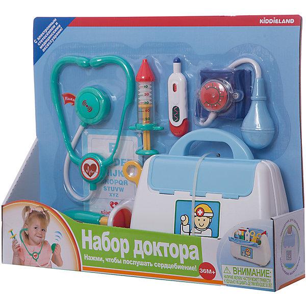 Развивающая игрушка Kiddieland Набор доктора Наборы доктора и ветеринара<br>Характеристики:<br><br>• тип игрушки: набор;<br>• возраст: от 3 лет;<br>• материал: пластик;<br>• комплектация: стетоскоп, медицинский молоток, градусник, шприц, пузырек для лекарств, безопасные ножницы, карта пациента и набор таблеток, тонометр;<br>• тип батареек: 3 x LR44;<br>• вес: 780 гр;<br>• размер: 36х43х10 см;<br>• бренд: Kiddieland.<br><br>Развивающая игрушка Kiddieland «Набор доктора» подойдет маленьких любителей сюжетно-ролевого развлечения, для ребятишек, мечтающих стать докторами и помогать людям. Любопытный набор, включающий в себя семь полезных во врачебном деле инструментов. В компактном прочном чемоданчике с голубой крышкой и удобной ручкой детки отыщут медицинские приборы и инструменты.<br><br>Нажимая круглую кнопку стетоскопа, маленький доктор услышит звук сердцебиения и как дышит его пациент, а также сможет измерить давление с помощью тонометра с вращающейся стрелкой.<br>Используя данный набор и придумывая занятные забавы, юный медработник обогатит свою фантазию, улучшит мелкую моторику, память, логическое мышление, коммуникабельность.<br>Все аксессуары изготовлены из качественной пластмассы и покрыты нетоксичными красками.<br>Набор выполнен из качественных и безопасных для здоровья детей материалов.<br><br>Развивающая игрушка Kiddieland «Набор доктора» можно купить в нашем интернет-магазине.<br>Ширина мм: 36; Глубина мм: 43; Высота мм: 10; Вес г: 780; Возраст от месяцев: 36; Возраст до месяцев: 72; Пол: Унисекс; Возраст: Детский; SKU: 7905836;