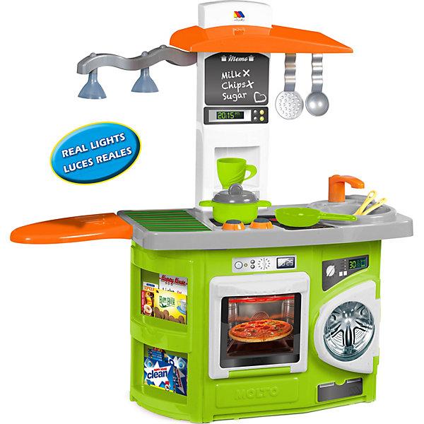 Игровая кухня Molto со светом (12 предметов)Детские кухни<br>Характеристики:<br><br>• тип игрушки: набор;<br>• возраст: от 3 лет;<br>• материал: пластик, картон;<br>•  комплектация: кухня, электрическая плита, раковина с краном, духовой шкаф, вытяжка, кофеварка, стиральная машина, посуда, сковорода, кастрюля с крышкой, чашка, блюдце, 2 ложки, ножик, вилка, половник, шумовка;<br>• тип батареек: 2хАА;<br>• наличие батареек: не входят в комплект;<br>• вес: 2,3 кг;<br>• размер: 65х20х56 см;<br>• страна бренда: Испания;<br>• бренд: Molto.<br><br>Игровая кухня Molto со светом (12 предметов)  изготовлена из высококачественного пластика и отвечает европейским стандартам безопасности. Следует отметить, что в комплекте находится 12 предметов, каждый из которых понравится ребенку. Набор подойдет для детей старше трех лет.<br><br>Игровая кухня Molto со светом (12 предметов) можно купить в нашем интернет-магазине.<br>Ширина мм: 65; Глубина мм: 15; Высота мм: 46; Вес г: 2360; Возраст от месяцев: 36; Возраст до месяцев: 72; Пол: Унисекс; Возраст: Детский; SKU: 7905838;