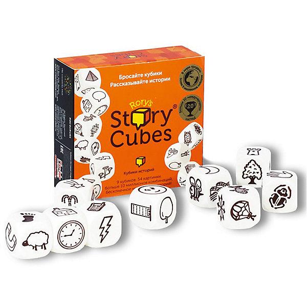 Игра RORYS STORY CUBES RSC1RU01 Кубики Историй OriginalНастольные игры для всей семьи<br>Характеристики:<br><br>• тип игрушки: настольная игра;<br>• возраст: от 5 лет;<br>• материал: картон, дерево;<br>• комплектация: 9 кубиков;<br>• количество игроков: 2-5 человек;<br>• время игры: 10-15 мин;<br>• вес: 164 гр;<br>• размер: 8х3х7,5 см;<br>• бренд: Rory`s Story Cubes.<br><br>Настольная игра Rory`s Story Cubes  «Кубики Историй Original» представляет собой 9 кубиков с 54 разными изображениями. Кинув кости, игрокам нужно будет составить интересный рассказ по выпавшим картинкам. Придумывая смешные, грустные и страшные истории, дети научатся выражать свои мысли и составлять единый текст из отдельно взятых слов.<br><br>Настольную игру Rory`s Story Cubes  «Кубики Историй Original» можно купить в нашем интернет-магазине.<br>Ширина мм: 75; Глубина мм: 80; Высота мм: 30; Вес г: 164; Возраст от месяцев: 60; Возраст до месяцев: 2147483647; Пол: Унисекс; Возраст: Детский; SKU: 7906253;