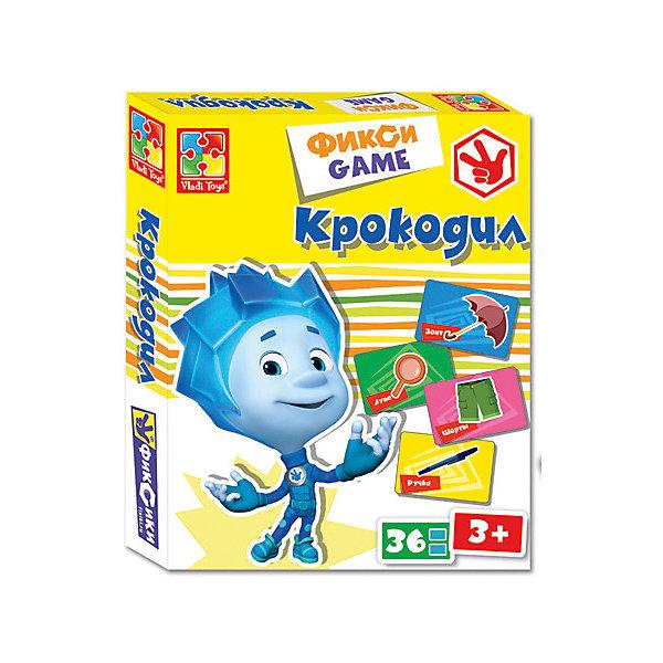 Настольная игра VLADI TOYS VT2107-04 Крокодил ФиксикиПопулярные игрушки<br>Характеристики:<br><br>• тип игрушки: настольная игра;<br>• возраст: от 3 лет;<br>• материал: картон;<br>• комплектация: 36 карточек;<br>• количество игроков: от 2 человек;<br>• время игры: 10-15 мин;<br>• вес: 280 гр;<br>• размер: 25х20х3,5 см;<br>• бренд: VLADI.<br><br>Настольная игра VLADI «Крокодил Фиксики» с персонажем знаменитого мультсериала Фиксики адаптирована для самых маленьких игроков. В набор входят 36 карточек с изображениями различных объектов. Один игрок из команды получает карточку с нарисованным предметом - его игроку придется показать, не говоря ни слова, используя лишь мимику и жесты. Задача остальных игроков - отгадать слово, которое показывает сотоварищ. Игра может быть как просто развлекательной, так и соревновательной.<br><br>Настольную игру VLADI «Крокодил Фиксики» можно купить в нашем интернет-магазине.<br>Ширина мм: 250; Глубина мм: 200; Высота мм: 35; Вес г: 280; Возраст от месяцев: 36; Возраст до месяцев: 2147483647; Пол: Унисекс; Возраст: Детский; SKU: 7906273;