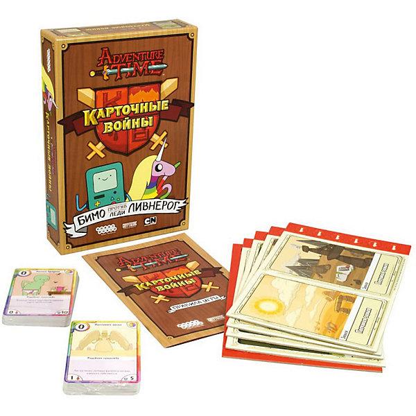 Настольная игра Hobby World 1659 Время приключений. Карточные войны: Бимо против Леди ЛивнерогНастольные игры для всей семьи<br>Характеристики:<br><br>• тип игрушки: настольная игра;<br>• возраст: от 10 лет;<br>• материал:  пластик, картон;<br>• комплектация:  2 колоды по 40 карт в каждой, 8 планшетов земель, жетоны урона;<br>• время игры: 30 мин;<br>• количество игроков: 2 человека;<br>• вес: 333 гр;<br>• размер: 24х16х5 см;<br>• страна бренда: Россия;<br>• бренд: Hobby World.<br><br>Настольная игра Hobby World «Время приключений. Карточные войны: Бимо против Леди Ливнерог» это интересная игра, которая создана на основе мультсериала Время приключений. В нее могут играть сразу 2 участника, и каждому игроку придется сражаться на невообразимых полях: песчаные земли и бесполезные болота. А персонажи, которые будут задействованы в битвах, не оставят равнодушными никого. Смех и веселье этой игры начинается с правил, которые входят в комплект и написаны с юмором.<br><br>Настольную игру Hobby World «Время приключений. Карточные войны: Бимо против Леди Ливнерог» можно купить в нашем интернет-магазине.<br>Ширина мм: 240; Глубина мм: 160; Высота мм: 50; Вес г: 333; Возраст от месяцев: 120; Возраст до месяцев: 2147483647; Пол: Унисекс; Возраст: Детский; SKU: 7906277;