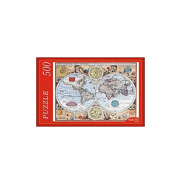Пазл Рыжий кот Старинная карта мира 500 элементовПазлы классические<br>Характеристики товара:<br><br>• возраст: от 6 лет;<br>• количество деталей: 500 шт;<br>• материал: картон;<br>• размер упаковки: 37х24х4 см;<br>• размер картины: 50х35 см;<br>• вес упаковки: 300 гр.;<br>• страна бренда: Россия.<br><br>Пазл Рыжий кот Старинная карта мира – это отличный способ увлекательно провести досуг, снять стресс и развить моторику.<br>Каждая деталь имеет индивидуальную форму и легко соединяется с другой, поэтому у Вас обязательно получится ожидаемый результат.<br><br>Пазл Рыжий кот Старинная карта мира можно купить в нашем интернет-магазине.<br>Ширина мм: 450; Глубина мм: 390; Высота мм: 255; Вес г: 3701; Возраст от месяцев: 36; Возраст до месяцев: 2147483647; Пол: Унисекс; Возраст: Детский; SKU: 7910313;