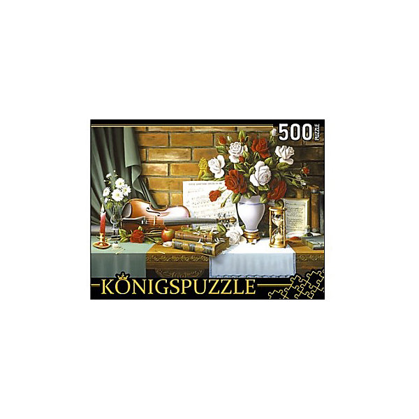 Пазл Konigspuzzle Цветочный натюрморт со скрипкой 500 элементовПазлы классические<br>Характеристики товара:<br><br>• возраст: от 7 лет;<br>• количество деталей: 500 шт;<br>• материал: картон;<br>• размер упаковки: 26х20х5 см;<br>• размер картины: 50х34 см;<br>• вес упаковки: 480 гр.;<br>• страна бренда: Германия.<br><br>Пазл Konigspuzzle Цветочный натюрморт со скрипкой – это отличный способ увлекательно провести досуг, снять стресс и развить моторику.<br>Каждая деталь имеет индивидуальную форму и легко соединяется с другой, поэтому у Вас обязательно получится ожидаемый результат.<br><br>Пазл Konigspuzzle Цветочный натюрморт со скрипкой можно купить в нашем интернет-магазине.<br>Ширина мм: 420; Глубина мм: 285; Высота мм: 280; Вес г: 4800; Возраст от месяцев: 36; Возраст до месяцев: 2147483647; Пол: Унисекс; Возраст: Детский; SKU: 7910385;