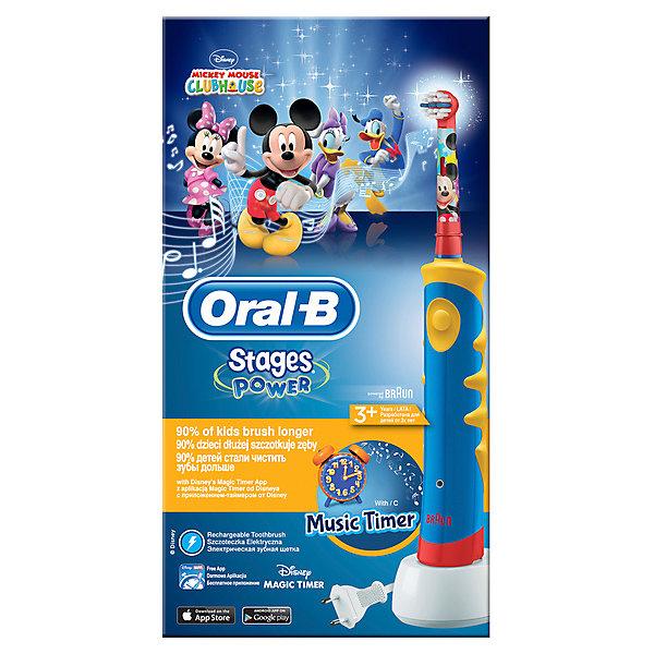 Детская электрическая зубная щетка Oral-B Mickey KidsЗубные щетки<br>Характеристики:<br><br>• цвет: синий;<br>• электрическая зубная щетка;<br>• технология возвратно-вращательных движений 2D;<br>• режим чувствительной чистки;<br>• 5600 движений в минуту;<br>• удаление зубного налета;<br>• бережная чистка полости рта;<br>• встроенный таймер: 2 минуты;<br>• встроенный проигрыватель: 16 мелодий;<br>• водонепроницаемая ручка щетки;<br>• рекомендовано для детей старше 3 лет; <br>• комплектация: электрическая зубная щетка, насадка для щетки Oral-B Kids, зарядное устройство.<br><br>Гигиена полости рта – обязательное условие для роста и развития здоровых зубов. Зубная щетка с любимыми героями Диснея превращает чистку зубов в веселое занятие. Электрическая зубная щетка превосходно чистит зубы, имеет более короткие щетинки по сравнению с мануальной зубной щеткой для особо бережной чистки полости рта. Сочетается со всеми сменными насадками Oral-B (кроме звуковой Sonic). Экстрамягкие расщеплённые на концах щетинки обеспечивают бережную чистку жевательных поверхностей зубов. Голубые щетинки Indicator обесцвечиваются наполовину, сигнализируя о необходимости замены насадки (в среднем раз в 3 месяца).<br><br>Детская электрическая зубная щетка Oral-B «Mickey Kids» можно купить в нашем интернет-магазине.<br>Ширина мм: 125; Глубина мм: 71; Высота мм: 235; Вес г: 346; Цвет: синий; Возраст от месяцев: 36; Возраст до месяцев: 72; Пол: Унисекс; Возраст: Детский; SKU: 7911672;