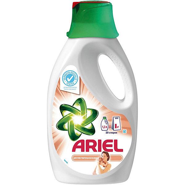 Детский жидкий стиральный порошок Ariel 1,3 лДетская бытовая химия<br>Характеристики:<br><br>• цвет: белый;<br>• детский жидкий стиральный порошок;<br>• превосходно удаляет пятна с 1-й стирки;<br>• усовершенствованная формула для cохранения яркости и придания свежести;<br>• колпачок с ребристой кромкой и распределяющей поверхностью;<br>• возможность точно отмерить необходимое количество средства для стирки<br>• бережное обращение с детской одеждой;<br>• рекомендуется использовать с кондиционером для белья;<br>• объем 1,3 л.<br><br>Жидкий порошок Ariel с колпачком для предварительной обработки белья превосходно удаляет пятна с первой стирки. Специальный колпачок с ребристой кромкой и распределяющей поверхностью позволяет предварительно обработать место загрязнения, удалить пятна. Жидкий порошок Ariel выпускается с инновационным колпачком для предварительной обработки пятен, с помощью которого можно отмерять правильное количество средства. Для получения наилучших результатов поместите наполненный средством для стирки колпачок в барабан стиральной машины.<br><br>Детский жидкий стиральный порошок Ariel 1,3 л можно купить в нашем интернет-магазине.<br>Ширина мм: 144; Глубина мм: 78; Высота мм: 281; Вес г: 1463; Цвет: белый; Возраст от месяцев: 36; Возраст до месяцев: 72; Пол: Унисекс; Возраст: Детский; SKU: 7911674;