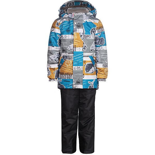 Комплект: куртка и брюки Ларри OLDOS ACTIVE для мальчикаВерхняя одежда<br>Характеристики товара:<br><br>• цвет: голубой/серый;<br>• внешняя ткань: 100% полиэстер, покрытие TEFLON, мембрана; <br>• подкладка - Куртка: флис, 100% полиэстер; Брюки: ворсовое полотно гладкой стороной к телу (100% полиэстер); <br>• подстежка: нет; <br>• утеплитель: Куртка: HOLLOFAN PRO 100 г/м2; Брюки: без утеплителя;<br>• сезон: демисезон;<br>• температурный режим: от -5 до +10;<br>• водонепроницаемость: 3000 мм;<br>• паропроницаемость: 3000 г/м2/24ч;<br>• застежка: молния YKK;<br>• съёмный капюшон на кнопках;<br>• защита подбородка;<br>• внутренняя ветрозащитная планка;<br>• эластичные манжеты на рукавах с доп. регулировкой (липучка);<br>• два кармана на молнии (куртка);<br>• внутренняя этикетка с местом для имени;<br>• эластичная резинка по талии;<br>• внутренний карман на липучке с нашивкой-потеряшкой;<br>• два кармана на молнии (брюки);<br>• регулируемый объем по талии;<br>• эластичные лямки с регулировкой длины;<br>• эластичная резинка на талии брюк;<br>• светоотражающие элементы;<br>• страна бренда: Россия.<br><br>Многофунциональный комплект: куртка и брюки «Ларри» для мальчика из мембранной коллекции Росийсского производителя OLDOS ACTIVE - отличный вариант для активных прогулок в межсезонье. Ну а модный принт и яркие цвета неприменно понравятся вашему малышу. Комплект хорошо сочетается с различной обувью и аксессуарами, также может использоваться как отдельные вещи.<br><br>В непромокаемом костюме из плотной мембранной ткани с водо- грязеотталкивающим покрытием из весенней коллекции OLDOS ACTIVE Ваш малыш может смело кататься на скейте, велосипеде и роликах, не боясь промокнуть или испачкаться! Костюм предназначен для носки в непогоду и поможет сохранить тепло и комфорт при температуре до -5 С. В качестве утеплителя в куртке использован холлофан, так же дополнительное тепло придает флисовая подкладка в области груди и спины. Мембранная ткань верха обеспечивает эффективное отведение