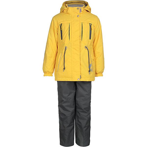 Комплект: куртка и брюки Киана OLDOS ACTIVE для девочкиВерхняя одежда<br>Характеристики товара:<br><br>• цвет: желтый/серый;<br>• внешняя ткань: 100% полиэстер, покрытие TEFLON, мембрана; <br>• подкладка - Куртка: флис, 100% полиэстер; Брюки: ворсовое полотно (100% полиэстер);<br>• сезон: демисезон;<br>• температурный режим: от -5 до +10;<br>Куртка:<br>• Куртка утепленная на молнии;<br>• Двойная ветрозащитная планка с защитой подбородка;<br>• Съемный капюшон, внутренняя резинка по краям для лучшего прилегания;<br>• Воротник-стойка с мягкой флисовой подкладкой;<br>• Манжеты на резинке;<br>• Карманы на молнии;<br>• Внутренняя утяжка по талии;<br>• Внутренний карман, нашивка-потеряшка;<br>Брюки:<br>• Брюки без утеплителя, с подкладкой из ворсового полотна, гладкой стороной к телу;<br>• Застежка на молнию и кнопку;<br>• Резинка по талии, пояс с внутренней регулировкой объема талии;<br>• Эластичные, широкие, съемные лямки, регулируемые по длине;<br>• Карманы;<br>• Усиления внизу брючин в местах особенного износа;<br>• Ветрозащитная муфта с антискользящей резинкой;<br>• Светоотражающие элементы; <br>• страна бренда: Россия.<br><br>Красивый и технологичный весенне-осенний костюм для девочки «Киана» в ярких цветах из мембранной коллекции OLDOS ACTIVE состоит из куртки и брюк. Верхняя ткань с мембраной 3000/3000 обеспечивает водонепроницаемость, при этом одежда дышит. Покрытие TEFLON повышает износостойкость, а так же облегчает уход за костюмом. <br><br>Функционал продуман до мелочей - в куртке: капюшон, который отстегивается при необходимости, двойная ветрозащитная планка, манжеты на резинке, внешняя регулировка на х/б шнур по талии, карманы на молнии, внутренний карман, который застегивается на липучку с нашивкой-потеряшкой; в брюках: объем талии регулируется,  съемные регулируемые по длине лямки, карманы на молнии, ветрозащитная муфта с антискользящей резинкой, усиления по низу брюк в местах особого износа.<br><br>Комплект: куртку и брюки для девочки «Киана» от бренда OLD
