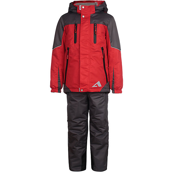 Комплект: куртка и брюки Эспен OLDOS ACTIVE для мальчикаВерхняя одежда<br>Характеристики товара:<br><br>• цвет: красный/серый;<br>• внешняя ткань: 100% полиэстер, покрытие TEFLON, мембрана; <br>• подкладка - Куртка: флис, 100% полиэстер; Брюки: ворсовое полотно гладкой стороной к телу (100% полиэстер);<br>• сезон: демисезон;<br>• температурный режим: от -5 до +10;<br>• Куртка утепленная на молнии;<br>• Двойная ветрозащитная планка с защитой подбородка;<br>• Съемный капюшон, внутренняя резинка по краям для лучшего прилегания;<br>• Воротник-стойка с мягкой флисовой подкладкой;<br>• Манжеты на резинке;<br>• Резинка по талии;<br>• Накладные карманы с клапаном, карманы на молнии;<br>• Внутренний карман, нашивка-потеряшка;<br>• Светоотражающие элементы;<br>• Брюки без утеплителя, с подкладкой из ворсового полотна, гладкой стороной к телу;<br>• Застежка на молнию и кнопку;<br>• Резинка по талии, пояс с внутренней регулировкой объема талии;<br>• Эластичные, широкие, съемные лямки, регулируемые по длине;<br>• Карманы на молнии;<br>• Усиления внизу брючин в местах особенного износа;<br>• Ветрозащитная муфта с антискользящей резинкой;<br>• Светоотражающие элементы;<br>• страна бренда: Россия.<br><br>Многофунциональный комплект: куртка и брюки «Эспен» для мальчика из мембранной коллекции OLDOS ACTIVE - отличный вариант для активных прогулок в межсезонье. <br><br>Костюм OLDOS ACTIVE предназначен для носки в непогоду и поможет сохранить тепло и комфорт при температуре до -5 С. В качестве утеплителя в куртке использован холлофан, так же дополнительное тепло придает флисовая подкладка в области груди и спины. Мембранная ткань верха обеспечивает эффективное отведение влаги изнутри, а специальное покрытие Teflon облегчает уход за изделием. <br><br>Функционал продуман до мелочей - в куртке: капюшон, который отстегивается при необходимости, двойная ветрозащитная планка, манжеты на резинке, карманы на молнии, регулировка по низу куртки, внутренний карман, который застегивается на липучк