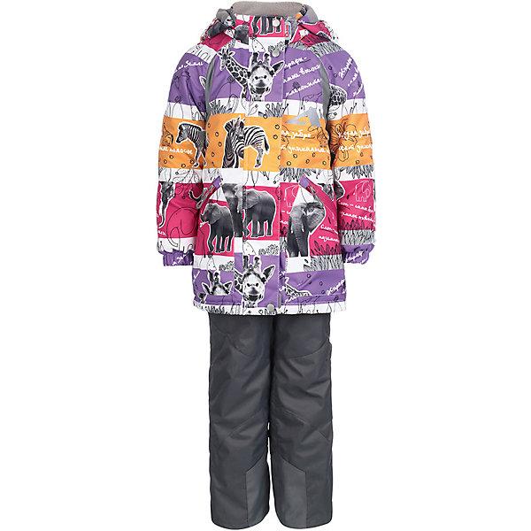 Комплект: куртка и брюки Ами OLDOS ACTIVE для девочкиВерхняя одежда<br>Характеристики товара:<br><br>• цвет: сиреневый/серый;<br>• внешняя ткань: 100% полиэстер, покрытие TEFLON, мембрана; <br>• подкладка - Куртка: флис, 100% полиэстер; Брюки: ворсовое полотно (100% полиэстер);<br>• сезон: демисезон;<br>• температурный режим: от -5 до +10;<br>Куртка:<br>• Куртка утепленная на молнии;<br>• Двойная ветрозащитная планка с защитой подбородка;<br>• Съемный капюшон, внутренняя резинка по краям для лучшего прилегания;<br>• Воротник-стойка с мягкой флисовой подкладкой;<br>• Манжеты на резинке;<br>• Карманы на молнии;<br>• Внутренняя утяжка по талии;<br>• Внутренний карман, нашивка-потеряшка;<br>Брюки:<br>• Брюки без утеплителя, с подкладкой из ворсового полотна, гладкой стороной к телу;<br>• Застежка на молнию и кнопку;<br>• Резинка по талии, пояс с внутренней регулировкой объема талии;<br>• Эластичные, широкие, съемные лямки, регулируемые по длине;<br>• Карманы;<br>• Усиления внизу брючин в местах особенного износа;<br>• Ветрозащитная муфта с антискользящей резинкой;<br>• Светоотражающие элементы; <br>• страна бренда: Россия.<br><br>Красивый и технологичный весенне-осенний костюм для девочки «Ами» из мембранной коллекции OLDOS ACTIVE состоит из куртки и брюк. Верхняя ткань с мембраной 3000/3000 обеспечивает водонепроницаемость, при этом одежда дышит. Покрытие TEFLON повышает износостойкость, а так же облегчает уход за костюмом. <br><br>Функционал продуман до мелочей - в куртке: капюшон, который отстегивается при необходимости, двойная ветрозащитная планка, манжеты на резинке, внешняя регулировка на х/б шнур по талии, карманы на молнии, внутренний карман, который застегивается на липучку с нашивкой-потеряшкой; в брюках: объем талии регулируется,  съемные регулируемые по длине лямки, карманы на молнии, ветрозащитная муфта с антискользящей резинкой, усиления по низу брюк в местах особого износа.<br><br>Яркие цвета и анималистичный принт с изображение диких животных Африки не 