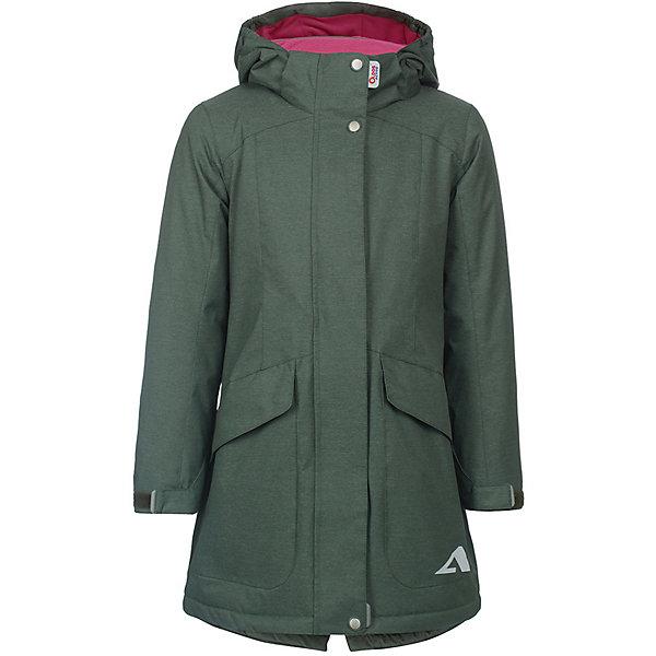 Плащ Теона OLDOS ACTIVE для девочкиВерхняя одежда<br>Характеристики товара:<br><br>• цвет: зеленый;<br>• внешняя ткань: 100% полиэстер, покрытие TEFLON, мембрана; <br>• подкладка: флис, 100% полиэстер;<br>• утеплитель: HOLLOFAN PRO 100 г/м2<br>• сезон: демисезон;<br>• температурный режим: от -5 до +10;<br>• водонепроницаемость: 3000 мм ;<br>• паропроницаемость: 3000 г/м2/24ч;<br>• застежка: на молнии;<br>• двойная ветрозащитная планка по всей длине молнии с защитой подбородка<br>• съемный капюшон, внутренняя резинка по краям для лучшего прилегания<br>• воротник-стойка с мягкой флисовой подкладкой<br>• резинка сзади по талии <br>• манжеты на резинке регулируемые липучкой<br>• 2 накладных кармана на кнопках снизу и на 2 кармана молнии вверху, внутренний карман на липучке<br>• нашивка-потеряшка<br>• светоотражающие элементы<br>• страна бренда: Россия.<br><br>Утепленный плащ «Теона» для девочки из мембранной коллекции Росийсского производителя OLDOS ACTIVE - отличный вариант для школы и прогулок в межсезонье.  Выполнен в ярком цвете, дополнен контрастной флисовой подкладкой, хорошо сидит по фигуре и сочетается с различной одеждой и обувью.<br><br>Верхняя ткань с мембраной 3000/3000 обеспечивает водонепроницаемость, при этом одежда дышит. Покрытие TEFLON повышает износостойкость, а так же облегчает уход за изделием. Гипоаллергенный утеплитель HOLLOFAN PRO 100 г/м2 тоньше обычного, но эффективнее удерживает тепло. Подкладка флис в области груди и спины, полиэстер - в рукавах. <br><br>Плащ прекрасно защитит от непогоды благодаря продуманному функционалу: капюшону, который отстегивается при необходимости,  двойной ветрозащитной планке, манжетам на резинке с клином, который регулируется липучкой, внутренней регулировке по талии. Так же плащ оснащен карманами с клапанами и светоотражающими элементами. Внутри плаща есть нашивка-потеряшка. <br><br>Утепленный плащ «Теона» для девочки от бренда OLDOS ACTIVE (Олдос Актив) можно купить в нашем интернет-магазине.<br>Ширина мм: 356; 