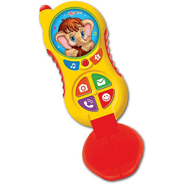 Телефончик Азбукварик МамонтенокДетские гаджеты<br>Характеристики:<br><br>• тип игрушки: плеер;<br>• возраст: от 2 лет;<br>• материал: пластик;<br>• тип батареек: ААА;<br>• наличие батареек: в комплект не входят;<br>• цвет:  салатовый; <br>• вес: 115 гр;<br>• размер: 45х22х13 см;<br>• бренд: Азбукварик.<br><br>Мультиплеер Азбукварик «Мамонтенок» предназначен для развития внимания, стимуляции речевых навыков. Яркий и привлекательный, он понравится любому ребенку. Верхняя часть плеера – это главная кнопка с изображением мамонтенка. Если нажать на нее, то ребенок сможет услышать песенку из мультфильма «Мама для мамонтенка». Ниже находятся кнопки с веселыми рисунками героев мультфильмов и зверушек. Ребенку достаточно выбрать одну из них, и будет играть забавная песенка.<br><br>Корпус выполнен из прочного полимера. Он гладкий и не скользит в руках. Его табло разделено на несколько секторов-кнопок. В нижней части корпуса расположена клавиша включения. Мультиплеер компактен. Его можно брать с собой, располагать в кармане или сумке. Удобная игрушка, с ярким дизайном, наличием разнообразных мелодий и удобной формой для развития речи и музыкального слуха. Для работы мультиплеера потребуются батарейки типа ААА. В комплект они не входят.<br><br>Мультиплеер Азбукварик «Мамонтенок» можно купить в нашем интернет-магазине.<br>Ширина мм: 130; Глубина мм: 450; Высота мм: 220; Вес г: 115; Цвет: желтый; Возраст от месяцев: 24; Возраст до месяцев: 48; Пол: Унисекс; Возраст: Детский; SKU: 7920343;