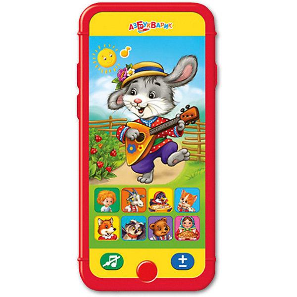 Мультиплеер Азбукварик Заинька, попляши!Детские гаджеты<br>Характеристики:<br><br>• тип игрушки: мультиплеер;<br>• возраст: от 2 лет;<br>• материал: пластик, металл;<br>• тип батареек: 3 х AAA / LR0.3 1.5V;<br>• наличие батареек:  входят в комплект;<br>• цвет:  красный; <br>• вес: 98 гр;<br>• размер: 22,5 х13,2х1,5 см;<br>• страна бренда: Россия;<br>• бренд: Азбукварик.<br> <br>Мультиплеер Азбукварик «Заинька, попляши!» представит ребенку 50 замечательных песенок,знакомых не одному поколению. На корпусе детского телефона Заинька, попляши! расположен ряд кнопок, нажав на которые, ребенок активирует воспроизведение музыки. Также имеется возможность скачать 15 потешек и организовать веселое караоке, воспользовавшись QR-кодами, расположенными на упаковке.<br><br>Мультиплеер Азбукварик «Заинька, попляши!» можно купить в нашем интернет-магазине.<br>Ширина мм: 225; Глубина мм: 132; Высота мм: 15; Вес г: 98; Цвет: красный; Возраст от месяцев: 24; Возраст до месяцев: 48; Пол: Унисекс; Возраст: Детский; SKU: 7920361;