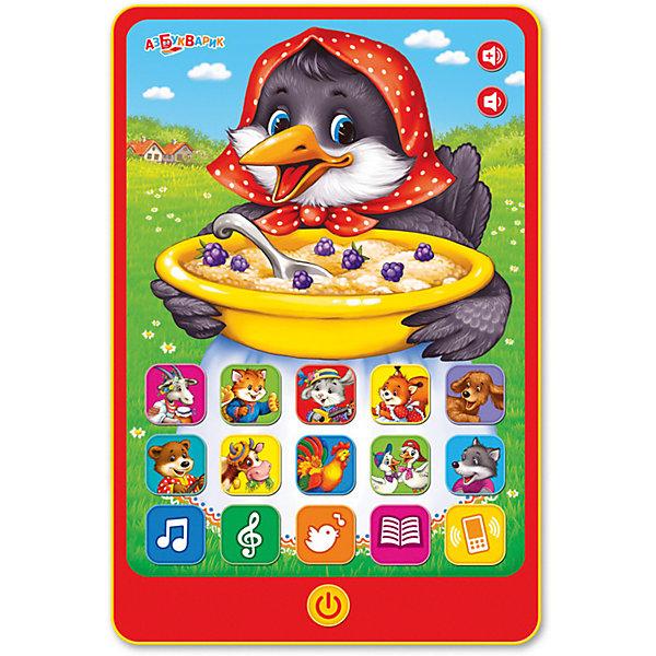 Планшетик Азбукварик Сорока-воронаДетские гаджеты<br>Характеристики:<br><br>• тип игрушки: планшетик;<br>• возраст: от 2 лет;<br>• материал: пластик;<br>• тип батареек: 3 х AAA / LR0.3 1.5V;<br>• наличие батареек:  входят в комплект;<br>• цвет:  красный; <br>• вес: 240 гр;<br>• размер: 22х15х28,5 см;<br>• бренд: Азбукварик.<br><br>Планшетик Азбукварик «Сорока-ворона»  способен порадовать как девочек, так и мальчиков. Игрушка представляет собой уменьшенную копию мобильного устройства и выглядит очень оригинально - изделие обладает широким экраном, на котором располагаются различные кнопки.<br><br>Если ребенок нажмет на каждую кнопку, он сможет услышать свыше десяти веселых песен, двадцать голосов животных, а также пять сказок. В игрушечном телефоне предусмотрен игровой режим, в котором ребенку предлагается отгадывать, какому из животных принадлежит представленный голос.<br><br>Планшетик Азбукварик «Сорока-ворона» можно купить в нашем интернет-магазине.<br>Ширина мм: 220; Глубина мм: 150; Высота мм: 285; Вес г: 240; Цвет: красный; Возраст от месяцев: 24; Возраст до месяцев: 48; Пол: Унисекс; Возраст: Детский; SKU: 7920365;