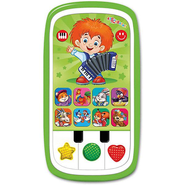 Мультиплеер Азбукварик ЧудесенкаДетские гаджеты<br>Характеристики:<br><br>• тип игрушки: мультиплеер;<br>• возраст: от 2 лет;<br>• материал: пластик, металл;<br>• тип батареек: 3 х AAA / LR0.3 1.5V;<br>• наличие батареек: не входят в комплект;<br>• цвет:  зеленый; <br>• вес: 140 гр;<br>• размер: 22,5х13,2х2 см;<br>• страна бренда: Россия;<br>• бренд: Азбукварик.<br><br>Мультиплеер Азбукварик «Чудесенка» - это мультиплеер с пианино,который позволит ребенку весело и интересно провести свое время. На мультиплеере находятся кнопочки, нажимая на которые, можно услышать известные детские песенки, любимые мелодии, сказку. Также нажатием клавиш можно активировать световые эффекты - воспроизведение песенок сопровождается яркими огоньками.<br><br>Мультиплеер Азбукварик «Чудесенка» можно купить в нашем интернет-магазине.<br>Ширина мм: 225; Глубина мм: 132; Высота мм: 20; Вес г: 140; Цвет: зеленый; Возраст от месяцев: 24; Возраст до месяцев: 48; Пол: Унисекс; Возраст: Детский; SKU: 7920367;