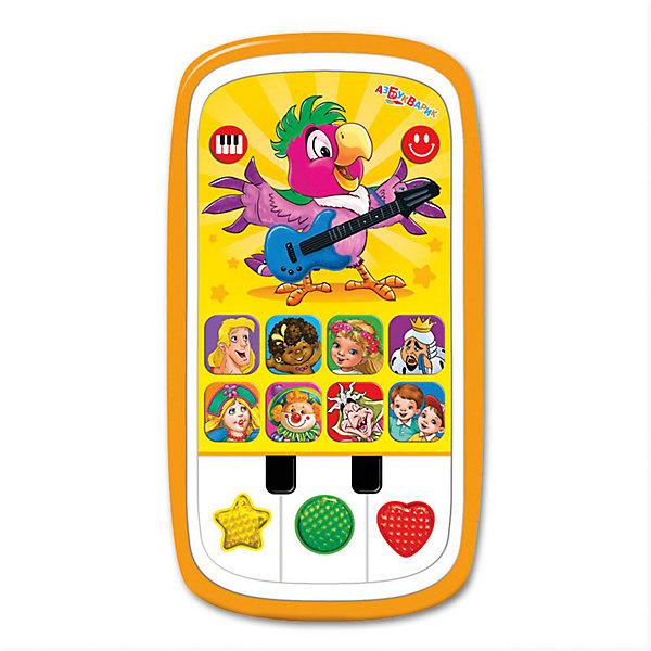 Мультиплеер Азбукварик Радуга с пианиноДетские гаджеты<br>Характеристики:<br><br>• тип игрушки: плеер;<br>• возраст: от 2 лет;<br>• материал: пластик;<br>• тип батареек: ААА;<br>• наличие батареек: в комплект не входят;<br>• цвет:  желтый; <br>• вес: 140 гр;<br>• размер: 13,2х17х22,5 см;<br>• бренд: Азбукварик.<br><br>Мультиплеер Азбукварик «Радуга» с пианино подарит малышам от двух лет 17 любимых песенок («Ничего на свете лучше нету», «Чунга-чанга», «Песенка о жирафе», «Такая-сякая», «Частушки Бабок-Ёжек», «Когда мои друзья со мной», «Карусельные лошадки», «Песенка Водяного» и другие), 6 мелодий, сказка «Мама для Мамонтёнка», волшебное пианино с огоньками и увлекательная игра «Угадай песенку».<br><br>Мультиплеер Азбукварик «Радуга» с пианино можно купить в нашем интернет-магазине.<br>Ширина мм: 132; Глубина мм: 170; Высота мм: 225; Вес г: 140; Цвет: оранжевый; Возраст от месяцев: 24; Возраст до месяцев: 48; Пол: Унисекс; Возраст: Детский; SKU: 7920375;