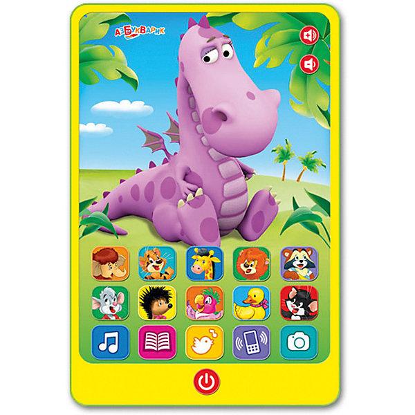 Планшетик Азбукварик ДракошаДетские гаджеты<br>Характеристики:<br><br>• тип игрушки: планшетик;<br>• возраст: от 2 лет;<br>• материал: пластик;<br>• тип батареек: 3 х AAA / LR0.3 1.5V;<br>• наличие батареек:  входят в комплект;<br>• цвет:  желтый; <br>• вес: 240 гр;<br>• размер: 22х15х28,5 см;<br>• бренд: Азбукварик.<br><br>Планшетик Азбукварик «Дракоша»  станет замечательным приобретением для любителей всяких девайсов. Игрушка является уменьшенной копией планшета, а ее экран снабжен множеством кнопок. Нажатие на кнопки, содержащие изображения животных, активирует свыше десяти звуковых эффектов и позволяет воспроизводить одиннадцать песенок. Если нажать на картинку с изображением дракончика, он начнет говорить и петь. В изделии предусмотрены функции фотоаппарата и набора номера. <br><br>Планшетик приглашает малышей послушать любимые песенки («По дороге с облаками», «Чунга-чанга», «Арам зам зам», «Полька», «Улыбка», «Танец утят» и другие) и мультсказки («Мама для Мамонтёнка», «Песенка Мышонка», «Трям! Здравствуйте», «Чучело-Мяучело»), а также сыграть в игру «Угадай песенку».<br><br>Планшетик Азбукварик «Дракоша» можно купить в нашем интернет-магазине.<br>Ширина мм: 220; Глубина мм: 150; Высота мм: 285; Вес г: 240; Цвет: желтый; Возраст от месяцев: 24; Возраст до месяцев: 48; Пол: Унисекс; Возраст: Детский; SKU: 7920377;