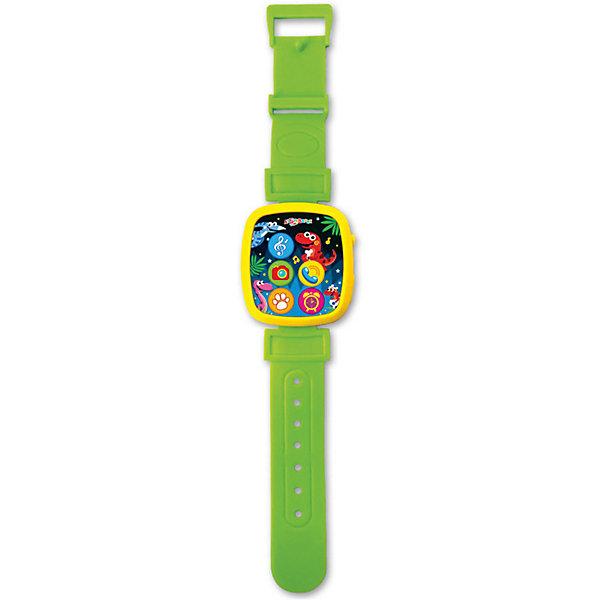 Часики Азбукварик Мой динозаврикДетские гаджеты<br>Характеристики:<br><br>• тип игрушки: часики;<br>• возраст: от 2 лет;<br>• материал: пластик;<br>• тип батареек:  3 х AG13 / LR44;<br>• наличие батареек:  не входят в комплект;<br>• цвет:  салатовый; <br>• вес: 72 гр;<br>• размер: 26,5х13х2 см;<br>• бренд: Азбукварик.<br><br>Часики Азбукварик «Мой динозаврик»  понравится юным модникам и модницам своим ярким дизайном. При нажатии на картинки, изображенные на циферблате часов, дети смогут прослушать 7 песенок и мелодий, а если нажать на изображенный фотоаппарат - загорится огонек. Кроме того, с помощью специального QR-кода, указанного внутри упаковки, можно скачать интерактивную книжку «Караоке» для телефона.<br><br>Часики Азбукварик «Мой динозаврик» можно купить в нашем интернет-магазине.<br>Ширина мм: 265; Глубина мм: 130; Высота мм: 20; Вес г: 72; Цвет: зеленый; Возраст от месяцев: 24; Возраст до месяцев: 48; Пол: Унисекс; Возраст: Детский; SKU: 7920379;