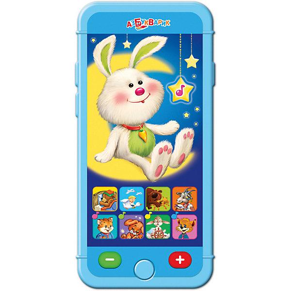 Мультиплеер Азбукварик Сладкие сныДетские гаджеты<br>Характеристики:<br><br>• тип игрушки: мультиплеер;<br>• возраст: от 2 лет;<br>• материал: пластик, металл;<br>• тип батареек: 3 х AAA / LR0.3 1.5V;<br>• наличие батареек:  входят в комплект;<br>• цвет:  голубой; <br>• вес: 140 гр;<br>• размер: 22,6х13,2х2 см;<br>• страна бренда: Россия;<br>• бренд: Азбукварик.<br> <br>Мультиплеер Азбукварик «Сладкие сны» способен занять детей на длительный промежуток времени. Изделие представляет собой миниатюрный игрушечный смартфон, обладающий большим экраном и снабженный множеством полезных функций. Нажатие на кнопки в виде ноток позволяет воспроизводить около двадцати мелодий, а если ребенок коснется изображения зайчика, он сможет прослушать целых пять сказок.<br><br>Мультиплеер Азбукварик «Сладкие сны» можно купить в нашем интернет-магазине<br>Ширина мм: 226; Глубина мм: 132; Высота мм: 20; Вес г: 140; Цвет: синий; Возраст от месяцев: 24; Возраст до месяцев: 48; Пол: Унисекс; Возраст: Детский; SKU: 7920387;