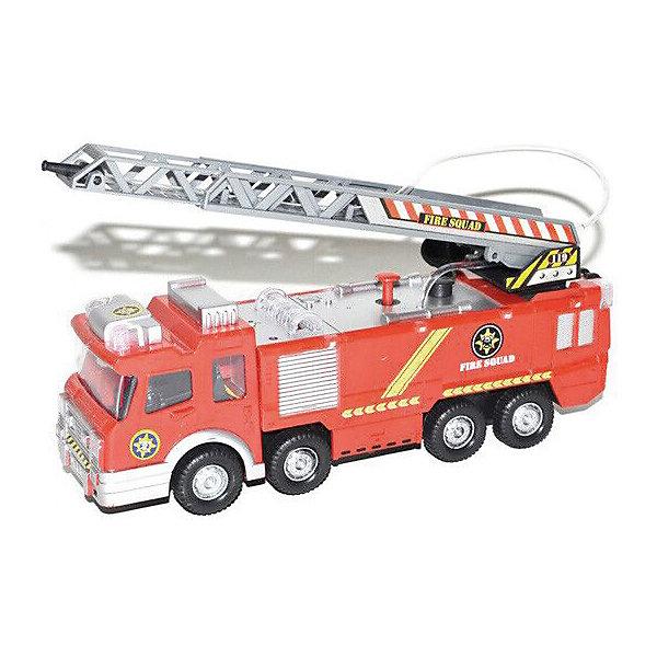 Пожарный автомобиль  Big motorsМашинки<br>Характеристики:<br><br>• тип игрушки: машина;<br>• возраст: от 3 лет;<br>• материал: пластик, металл, резина;<br>• тип батареек: 3 x AAА;<br>• наличие батареек: не входят в комплект;<br>• цвет:  красный;<br>• вес: 458 гр;<br>• размер: 28х9х14 см;<br>• бренд: Yako.<br><br>Пожарный автомобиль  Big motors со звуковыми и световыми эффектами привлечет внимание вашего малыша и не позволит ему скучать. При нажатии на кнопку на крыше слышны звуки настоящей пожарной машины. У модели вращается брандспойт, двигается с механизмом удар-разворот, брызгается водой с помощью ручного насоса. Реалистичная модель машинки для детей дополнит автопарк вашего малыша, подойдет для игр дома и на природе<br><br>Пожарный автомобиль  Big motors можно купить в нашем интернет-магазине.<br>Ширина мм: 280; Глубина мм: 90; Высота мм: 140; Вес г: 458; Цвет: красный; Возраст от месяцев: 60; Возраст до месяцев: 120; Пол: Мужской; Возраст: Детский; SKU: 7920674;