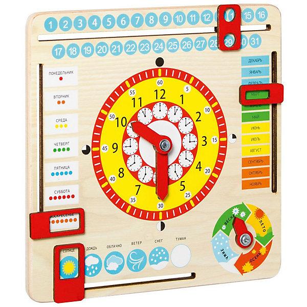 Игрушка развивающая Master Wood Часы и календарьРазвивающие центры<br>Характеристики:<br><br>• тип игрушки: развивающая;<br>• возраст: от 3 лет;<br>• материал: пластик;<br>• цвет: желтый, красный;<br>• вес: 220 гр;<br>• размер: 25х25х1,5 см;<br>• бренд: Master Wood.<br><br>Игрушка развивающая Master Wood «Часы и календарь» станет увлекательным занятием для малыша в возрасте от 3 лет. Поможет ребенку увлекательно изучить дни недели, месяца, даты, время, пору года.<br><br>Игрушка представляет собой деревянную основу на которой, в центре расположены циферблат, часовая и минутная стрелки, которые можно передвинуть. Со всех четырех сторон панели есть специальные передвигающиеся ячейки, которые можно выставлять в зависимости от месяца, даты, дня недели и погоды. Так же на панели есть изображение поры года со стрелкой, стрелку можно передвинуть для того что бы обозначить нужную.<br><br>Игрушку развивающая Master Wood «Часы и календарь» можно купить в нашем интернет-магазине.<br>Ширина мм: 250; Глубина мм: 15; Высота мм: 250; Вес г: 220; Цвет: бежевый; Возраст от месяцев: 36; Возраст до месяцев: 84; Пол: Унисекс; Возраст: Детский; SKU: 7920686;