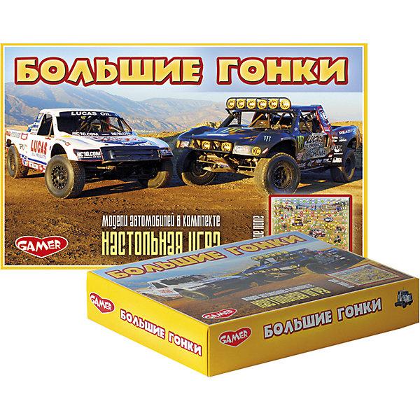 Детская настольная игра Dream Makers Большие гонкиНастольные игры ходилки<br>Характеристики:<br><br>• тип игрушки: настольная игра;<br>• возраст: от 3 лет;<br>• материал: картон, пластик;<br>• количество игроков: 2-4;<br>• комплектация: игровое поле, 4 фишки, кубик;<br>• вес: 266 гр;<br>• размер: 32,5х20х5,5 см;<br>• бренд: Dream Makers.<br><br>Игра детская настольная Dream Makers  «Большие гонки» -  это захватывающая настольная игра для всей семьи. Комплект включает в себя 4 фишки, кубик и игровое поле, на котором изображены различные виды автотранспорта. Суть игры достаточна проста - необходимо первым прийти к финишу, поочередно бросая кубик и двигая фишку на выпавшее количество пунктов вперед. Данная настольная игра подарит отличное настроение всем ее участникам.<br><br>Игру детскую настольную Dream Makers «Большие гонки» можно купить в нашем интернет-магазине.<br>Ширина мм: 324; Глубина мм: 200; Высота мм: 55; Вес г: 266; Возраст от месяцев: 36; Возраст до месяцев: 84; Пол: Мужской; Возраст: Детский; SKU: 7920718;