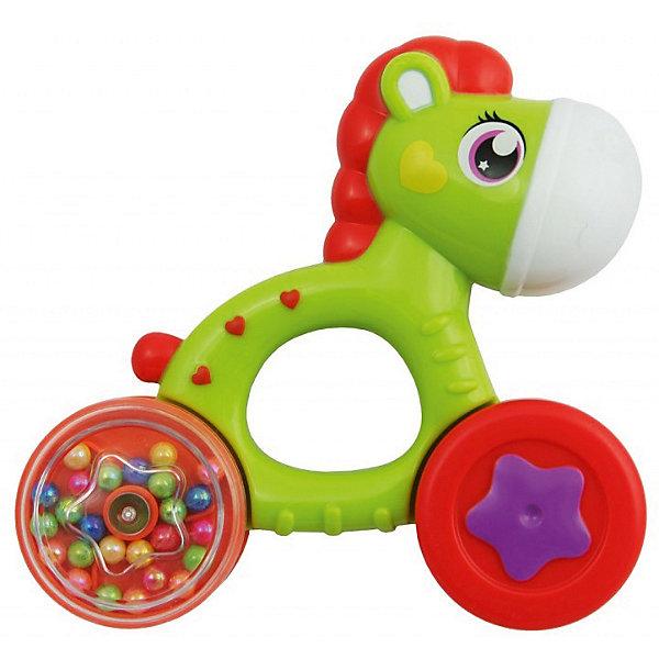 Погремушка Baby Care ЛошадкаИгрушки для новорожденных<br>Характеристики:<br><br>• тип игрушки: погремушка;<br>• возраст: от 3 мес;<br>• материал: пластик;<br>• цвет: зелено-оранжевый; <br>• вес: 123 гр;<br>• размер: 25х16х4 см;<br>• бренд: Baby Care.<br><br>Погремушка Baby Care  привлечет внимание малыша яркой цветовой гаммой и забавными звуками. Игрушка выполнена в форме лошадки. Благодаря оптимальным размерам и наличию отверстия в туловище игрушечного животного, погремушку удобно держать в руке. С помощью данной погремушки, малыш сможет развить воображение, усовершенствовать слух и цветовое восприятие. <br><br>Погремушку Baby Care можно купить в нашем интернет-магазине.<br>Ширина мм: 40; Глубина мм: 160; Высота мм: 250; Вес г: 123; Цвет: gr?n/orange; Возраст от месяцев: 36; Возраст до месяцев: 144; Пол: Унисекс; Возраст: Детский; SKU: 7920762;