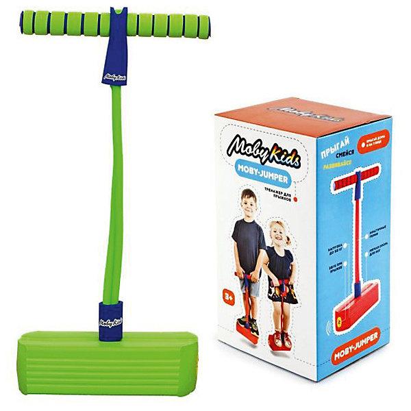 Тренажер для прыжков Moby-Jumper со звуком, зелен.Прыгуны и джамперы<br>Характеристики:<br><br>• возраст: от 3 лет;<br>• материал: пластмасса, металл, резина;<br>• цвет: зеленый;<br>• максимальная нагрузка: 50 кг.;<br>• вес упаковки: 520 гр.;<br>• размер упаковки: 15х13х28 см;<br>• страна бренда: Китай.<br><br>С тренажером для прыжков Moby-Jumper ребенок всегда находится в движении. Тренажер имеет яркий дизайн, состоит из упругой опоры для ног, эластичных шнуров и удобных ручек. Джампер прост и безопасен в использовании, во время прыжков издается веселый звук по типу пищалки.<br><br>Moby-Jumper – это не только активная игра, но и полноценная спортивная тренировка на все группы мышц. С тренажером дети смогут устраивать соревнования по прыжкам или на скорость. Эта игрушка отличный вариант на случай дождливой погоды – ребенок проведет время активно не выходя из дома.<br><br>Занятия с Moby-Jumper развивают координацию движений, вестибулярный аппарат и моторику. Игрушка сделана из прочных материалов, безопасных для здоровья.<br><br>Тренажер для прыжков Moby-Jumper со звуком, зеленый можно купить в нашем интернет-магазине.<br>Ширина мм: 150; Глубина мм: 130; Высота мм: 280; Вес г: 520; Цвет: зеленый; Возраст от месяцев: 36; Возраст до месяцев: 96; Пол: Унисекс; Возраст: Детский; SKU: 7920769;