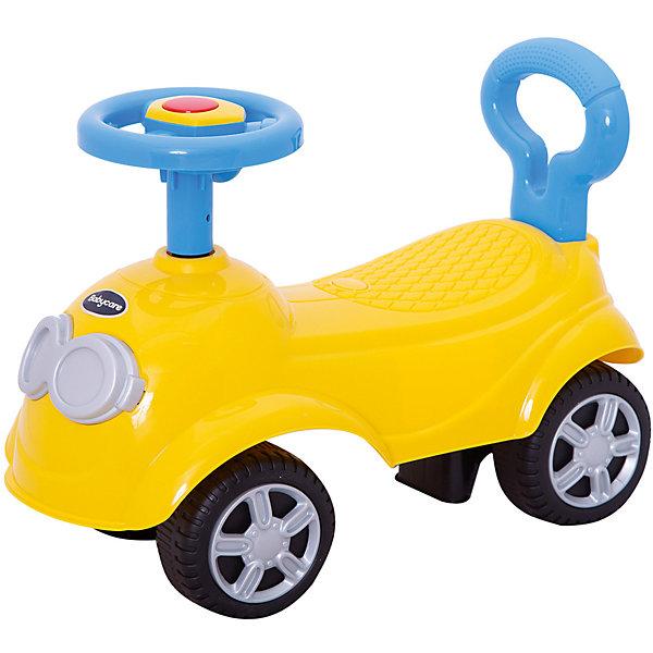Каталка детская Baby Care QT Racer желтыйМашинки-каталки<br>Новинка от бренда Baby Care QT Racer- суперлёгкая и очень надежная каталка. Кроме того, она очень похожа для всеми любимого мультипликационного героя.Вы и Ваш ребенок влюбится в нее с первого взгляда!Машинка выполнена таким образом, чтобы быть максимально безопасной для малыша. У нее отсутствуют острые углы. <br>Поворотный руль с кнопкой-пищалкой.• Размер каталки: длина 52см, ширина 25см, высота 35см.• Вес: 1.2 кг.• Максимальная нагрузка: 25 кг.• Размер колёс: 12 см.<br>Ширина мм: 520; Глубина мм: 250; Высота мм: 190; Вес г: 1600; Цвет: желтый; Возраст от месяцев: 12; Возраст до месяцев: 24; Пол: Унисекс; Возраст: Детский; SKU: 7922712;