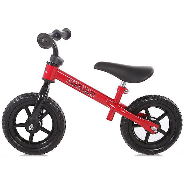 Самокат-беговел детский Baby Care Lightning красныйБеговелы<br>Baby Care Lightning – беговел на 10-дюймовых колесах. Лучший способ разнообразить летнюю прогулку с ребенком. Высоту руля и седла можно регулировать. <br>Беговелы – это детские двухколесные велосипеды, у которых нет педалей. Они совмещают в себе черты велосипеда и самоката и помогают держать равновесие.<br>Особенности:10 дюймовые колеса из EVA;эргономичное сидение с мягкой накладкой;металлическая рама;металлические подшипники в колёсах;вес: 2,89кг;<br>нет тормоза;нет подножки;сиденье регулируется по высоте. <br>Характеристики:диаметр колес — 10 дюймов;предназначен для детей от 2 лет до 6 лет (до 25кг);размер велосипеда: 70х46х57см;минимальная высота сиденья от земли: 34см;максимальная высота сиденья от земли: 42см.<br>Ширина мм: 610; Глубина мм: 270; Высота мм: 170; Вес г: 3200; Цвет: красный; Возраст от месяцев: 24; Возраст до месяцев: 72; Пол: Унисекс; Возраст: Детский; SKU: 7922734;