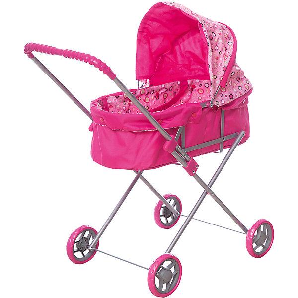 Коляска для кукол Карапуз со съемной люлькой, розоваяТранспорт и коляски для кукол<br>Характеристики:<br><br>• коляска-люлька для куклы;<br>• съемная люлька с ручками;<br>• регулируемый капюшон;<br>• алюминиевый каркас;<br>• пластиковые колеса;<br>• ручка коляски с нескользящей накладкой;<br>• ручка находится в фиксированном положении;<br>• складная рама;<br>• материал: металл, пластик, полиэстер;<br>• размер коляски: 80х35х10 см. <br><br>Коляска-люлька для любимой куколки позволяет брать куклу с собой на прогулку. Кукле находится в люльке, которую при необходимости можно вытащить из коляски и использовать как переноску. Коляска с фиксированной по высоте ручкой, регулируемым капором и полноценным спальным местом. Выполнена в розовом цвете, принт – цветные круги на капюшоне и внутренней обивке. <br><br>Коляску для кукол Карапуз со съемной люлькой, розовую можно купить в нашем интернет-магазине.<br>Ширина мм: 350; Глубина мм: 100; Высота мм: 800; Вес г: 1980; Цвет: розовый; Возраст от месяцев: 36; Возраст до месяцев: 6; Пол: Женский; Возраст: Детский; SKU: 7922779;