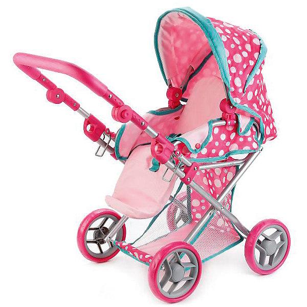 Купить Коляска для кукол 3 в 1 Карапуз, розовая в горошек, КАРАПУЗ, Китай, розовый, Женский