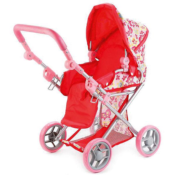 Купить Коляска для кукол 3 в 1 Карапуз, розовая в цветочек, КАРАПУЗ, Китай, розовый, Женский