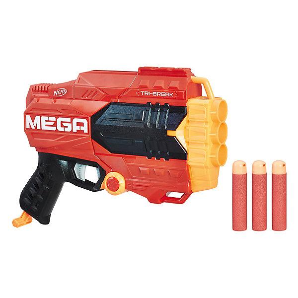 Бластер Nerf Мега Три-брейкИгрушечные пистолеты и бластеры<br>Характеристики:<br><br>• возраст: от 8 лет;<br>• материал: пластик;<br>• в наборе: бластер, 3 стрелы;<br>• вес упаковки: 628 гр.;<br>• размер упаковки: 6,7х33х29,8 см;<br>• страна бренда: США.<br><br>Бластер «Мега Три-брейк» Hasbro Nerf стреляет по одному заряду за один выстрел. В пушку можно зарядить сразу 3 стрелы. Для этого нужно нажать на кнопку на бластере и разомкнуть корпус, поместив в него дротики.<br><br>Бластер удобно держать в руках, игрушка обладает ярким дизайном, корпус детализирован. Сделано из качественных безопасных материалов.<br><br>Бластер «Мега Три-брейк», Nerf можно купить в нашем интернет-магазине.<br>Ширина мм: 67; Глубина мм: 330; Высота мм: 298; Вес г: 628; Возраст от месяцев: 96; Возраст до месяцев: 2147483647; Пол: Мужской; Возраст: Детский; SKU: 7922801;
