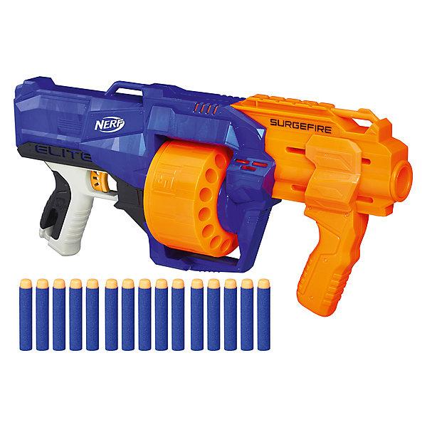 Бластер Nerf Элит СёрджфайрИгрушечные пистолеты и бластеры<br>Характеристики:<br><br>• возраст: от 8 лет;<br>• материал: пластик;<br>• в наборе: бластер, 15 стрел;<br>• вес упаковки: 1,25 кг.;<br>• размер упаковки: 7,9х55,2х25,4 см;<br>• страна бренда: США.<br><br>Бластер «Элит Серджфайр» Hasbro Nerf стреляет одним или сразу всеми зарядами благодаря вращающемуся барабану. Механизм насоса бластера запускает пулю на расстояние до 27 метров.<br><br>Бластер удобно держать в руках, игрушка обладает ярким дизайном, корпус детализирован. Сделано из качественных безопасных материалов.<br><br>Бластер «Элит Сёрджфайр», Nerf можно купить в нашем интернет-магазине.<br>Ширина мм: 554; Глубина мм: 256; Высота мм: 83; Вес г: 1185; Возраст от месяцев: 96; Возраст до месяцев: 144; Пол: Мужской; Возраст: Детский; SKU: 7922866;