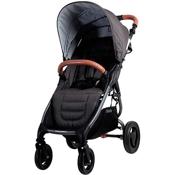 Прогулочная коляска Valco baby Snap 4 Trend / CharcoalПрогулочные коляски<br>Характеристики:<br><br>• прогулочная коляска;<br>• регулируемая спинка: ременной механизм, горизонтальное положение;<br>• регулируемая подножка;<br>• большой капор с сетчатой секцией УФ-защитой на молнии;<br>• капюшон расширяется с помощью молнии.<br>• 5-ти точечные ремни безопасности с мягкими накладками;<br>• регулируемая длина ремней;<br>• бампер обтянут материалом из эко-кожи;<br>• бампер отстегивается для посадки малыша в коляску;<br>• ручка обтянута эко-кожей, регулируется по высоте;<br>• корзина для покупок;<br>• передние поворотные колеса с блокировкой;<br>• колеса бескамерные устойчивы к проколам;<br>• ножной тормоз не пачкает обувь;<br>• тип складывания: книжка;<br>• коляска складывается одной рукой;<br>• имеется ремень для переноски коляски в сложенном виде;<br>• обивку можно снять и постирать при температуре 30 градусов;<br>• есть возможность установить автокресло при помощи адаптеров; <br>• адаптеры и автокресло приобретаются отдельно;<br>• материал: алюминий, пластик, полиэстер, резина;<br>• максимальная нагрузка: 20 кг;<br>• размеры в разложенном виде: 100х53х108 см;<br>• размеры в сложенном виде: 74х53х28 см;<br>• размеры сиденья и спинки: 22х50 см;<br>• высота ручки, 3 положения: 98 см, 105 см, 110 см;<br>• вес коляски: 8 кг. <br><br>Коляска Valco Baby Snap 4 Trend — это обновлённая модель.<br>Основные изменения коляски Valco Baby Snap 4 Trend:<br>• Большой капюшон из 4-х секций, одна секция сетчатая с УФ-защитой.<br>• Регулируемая по высоте ручка обтянута из эко-кожи.<br>• Задняя стенка теперь плотно закрывает по двум сторонам и имеет кармашек с молнией.<br>• Съёмный бампер обтянут материалом из эко-кожи.<br>• Увеличенная корзина для покупок.<br>• Видоизменённые бескамерные колеса.<br><br>Прогулочная коляска с широким сиденьем и раскладывающейся до лежачего положения спинкой создает комфорт и безопасность малышу во время прогулки. Капюшон защищает ребенка от дождя и солнца