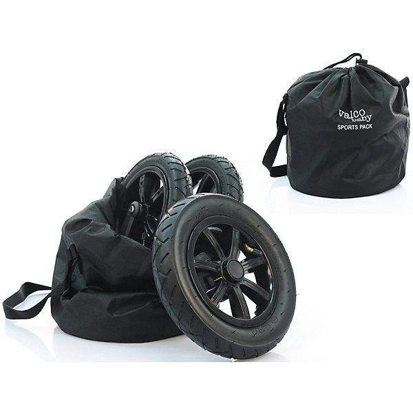 Комплект надувных колес Valco Baby Sport Pack для Snap 4 / BlackАксессуары для колясок<br>Комплект надувных колес превратит вашу коляску Valko Baby Snap 4 во внедорожник. Пневматические колеса обеспечат мягкость хода при движении по бездорожью. Легко устанавливаются и снимаются. В комплекте сумочка для хранения и транспортировки колес. <br>Особенности:<br>надежное крепление к шасси коляски<br>быстро устанавливаются и легко снимаются <br>В комплекте:<br>комплект из 4 надувных колес<br>сумка для хранения и транспортировки<br>Диаметр передних колес - 20,5 см.<br>Диаметр задних колес - 24,5 см.<br>Насос в комплект не входит.<br>Ширина мм: 310; Глубина мм: 260; Высота мм: 229; Вес г: 3230; Цвет: черный; Возраст от месяцев: 0; Возраст до месяцев: 3; Пол: Унисекс; Возраст: Детский; SKU: 7922909;