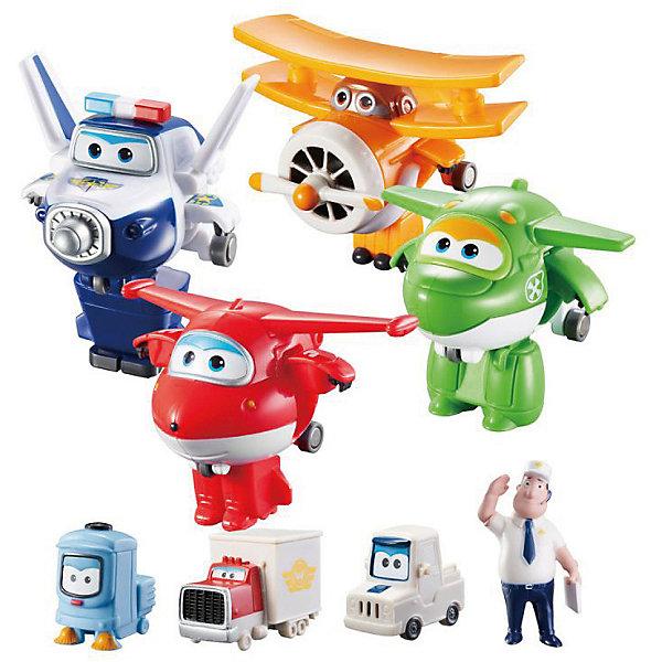 Набор «Команда Аэропорта» 8 мини-трансформеров и 7 фигурокФигурки из мультфильмов<br>«Супер Крылья»  или Super Wings – команда самолётов-трансформеров из обучающего мультфильма «Super Wings». Для детей они - настоящие друзья, которые придут на помощь, когда бы они ни понадобились!<br><br>Комплектация и функциональность<br>Вся команда Терминала Super Wings в сборе!<br>Для маленьких коллекционеров, которые не хотят долго ждать и собирать фигурки любимых персонажей: все самолёты-роботы, диспетчер Джимбо и забавные  машинки в одном наборе. «Супер крылья – мы доставляем!» Прекрасно дополнит МЕГА НАБОР АЭРОПОРТ, воссоздав всю сжетную линию мультсериала. <br><br>В набор входит:<br>8 мини-трансформеров (6 см),<br>7 фигурок из ПВХ (5 см).<br>Теперь любая серия мультфильма оживёт прямо в детской!<br><br>Коллекция<br>Фигурки и игровые наборы Super Wings - точные копии персонажей из анимационного сериала «Супер Крылья».  Все игрушки выполнены из высококлассного пластика, имеют сглаженные углы и оригинальный яркий дизайн.<br><br>Какие навыки развиваются<br>  <br>При помощи игрушек-трансформеров дети от 3 до 7 лет развивают пространственное мышление, логику и мелкую моторику, учатся анализировать. А с Джеттом и его командой обучение превращается в увлекательные приключения!<br><br>Игрушка безопасна! <br>Продукция сертифицирована, экологически безопасна для ребенка, использованные красители не токсичны и гипоаллергенны.<br>Ширина мм: 358; Глубина мм: 290; Высота мм: 254; Вес г: 633; Возраст от месяцев: 36; Возраст до месяцев: 60; Пол: Мужской; Возраст: Детский; SKU: 7923250;