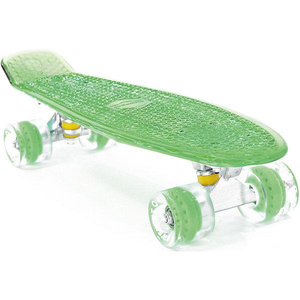 Скейтборд PWSport Flash 22,зеленыйСкейтборды и лонгборды<br>Характеристики товара: <br><br>• возраст: от 5 лет;<br>• максимальная нагрузка: 90 кг;<br>• диаметр колес: 59 мм;<br>• материал колес: полиуретан;<br>• размер платформы: 56х15,2 см;<br>• светящаяся платформа;<br>• материал платформы: пластик;<br>• подшипник АВЕС 7;<br>• подвеска: алюминий, 3 дюйма;<br>• размер упаковки: 57х13х10 см;<br>• вес упаковки: 1,9 кг.<br><br>Скейтборд PWSport Flash 22 зеленый — популярное средство передвижения по городу, подойдет как для детей и подростков, так и взрослых. Светящаяся платформа сделает катание еще эффектней. Колеса выполнены из полиуретана, они обеспечивают ровное катание и хорошее сцепление  поверхностью. <br><br>Платформа выполнена из прочного пластика и усилена стекловолокном и выдерживает большие нагрузки. Поверхность деки рифленая, она препятствует соскальзыванию ног во время езды. <br><br>Скейтборд PWSport Flash 22 зеленый можно приобрести в нашем интернет-магазине.<br>Ширина мм: 570; Глубина мм: 130; Высота мм: 100; Вес г: 1900; Цвет: зеленый; Возраст от месяцев: 60; Возраст до месяцев: 2147483647; Пол: Женский; Возраст: Детский; SKU: 7925397;