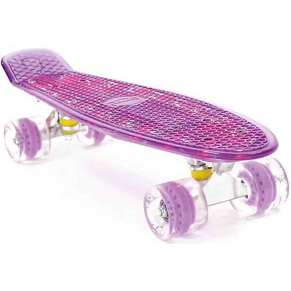 Скейтборд PWSport Flash 22,фиолетовыйСкейтборды и лонгборды<br>Характеристики товара: <br><br>• возраст: от 5 лет;<br>• максимальная нагрузка: 90 кг;<br>• диаметр колес: 59 мм;<br>• материал колес: полиуретан;<br>• размер платформы: 56х15,2 см;<br>• светящаяся платформа;<br>• материал платформы: пластик;<br>• подшипник АВЕС 7;<br>• подвеска: алюминий, 3 дюйма;<br>• размер упаковки: 57х13х10 см;<br>• вес упаковки: 1,9 кг.<br><br>Скейтборд PWSport Flash 22 фиолетовый — популярное средство передвижения по городу, подойдет как для детей и подростков, так и взрослых. Светящаяся платформа сделает катание еще эффектней. Колеса выполнены из полиуретана, они обеспечивают ровное катание и хорошее сцепление  поверхностью. <br><br>Платформа выполнена из прочного пластика и усилена стекловолокном и выдерживает большие нагрузки. Поверхность деки рифленая, она препятствует соскальзыванию ног во время езды. <br><br>Скейтборд PWSport Flash 22 фиолетовый можно приобрести в нашем интернет-магазине.<br>Ширина мм: 570; Глубина мм: 130; Высота мм: 100; Вес г: 1900; Цвет: фиолетовый; Возраст от месяцев: 60; Возраст до месяцев: 2147483647; Пол: Унисекс; Возраст: Детский; SKU: 7925399;
