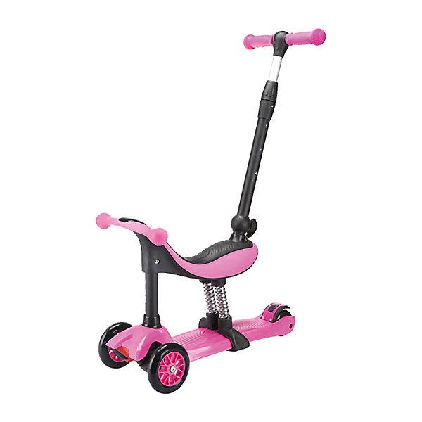 Трехколесный самокат TechTeam Genius,розовыйСамокаты<br>Характеристики товара: <br><br>• возраст: от 2 лет;<br>• максимальная нагрузка на сидение: 40 кг;<br>• максимальная нагрузка на самокат: 60 кг;<br>• материал руля: алюминий;<br>• диаметр передних колес 120 мм, заднего 80 мм;<br>• материал колес: полиуретан;<br>• ножной тормоз;<br>• подшипник АВЕС 5 Carbon;<br>• высота руля: 66-82 см;<br>• размер упаковки: 60х28х12 см;<br>• вес упаковки: 4,2 кг.<br><br>Трехколесный самокат TechTeam Genius розовый — городской самокат-трансформер для самых маленьких пользователей. Он может использоваться как каталка с родительской ручкой, как обычная каталка с сидением и как самокат. При помощи ручки родители могут возить малыша или контролировать его движения. Сидя на сидении, ребенок может перемещаться самостоятельно, отталкиваясь ножками от земли. А когда он подрастет, то самостоятельно кататься на самокате.<br><br>Колеса выполнены из износостойкого полиуретана. Они развивают хорошую скорость и делают катание ровным и бесшумным. Руль можно отрегулировать по мере роста ребенка. На ручках руля прорезиненные грипсы, которые не дадут ладоням соскальзывать во время езды. На заднем колесе ножной тормоз, который обеспечит быстрое торможение. Дека выполнена из прочного полипропилена.<br><br>Трехколесный самокат TechTeam Genius розовый можно приобрести в нашем интернет-магазине.<br>Ширина мм: 600; Глубина мм: 280; Высота мм: 120; Вес г: 4200; Цвет: розовый; Возраст от месяцев: 24; Возраст до месяцев: 60; Пол: Женский; Возраст: Детский; SKU: 7925405;