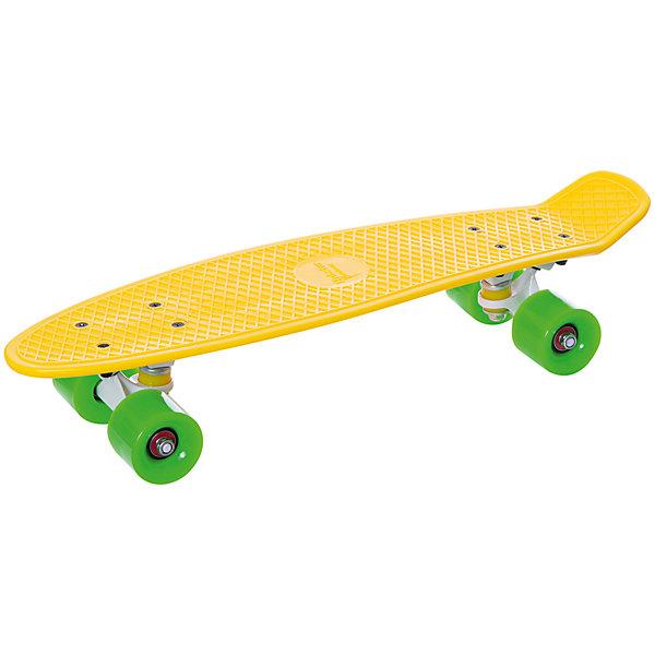 Скейтборд Hubster Cruiser 22  желтый с зелеными колесамиСкейтборды<br>Характеристики товара: <br><br>• возраст: от 5 лет;<br>• максимальная нагрузка: 90 кг;<br>• диаметр колес: 59 мм;<br>• материал колес: полиуретан;<br>• жесткость колес: 78А;<br>• размер платформы: 56х15 см;<br>• материал платформы: пластик;<br>• подшипник АВЕС 7;<br>• подвеска: алюминий, 3 дюйма;<br>• размер упаковки: 57х13х10 см;<br>• вес упаковки: 1,9 кг.<br><br>Пенни борд Hubster Cruiser 22 желтый с зелеными колесами — популярное средство передвижения по городу, подойдет как для детей и подростков, так и взрослых. Колеса выполнены из полиуретана, они обеспечивают ровное катание и хорошее сцепление  поверхностью, не гремят по асфальту и не скользят на влажном покрытии.<br><br>Подшипники обеспечивают хороший накат и высокую скорость. Платформа выполнена из прочного пластика и усилена стекловолокном и выдерживает большие нагрузки. Поверхность деки рифленая, она препятствует соскальзыванию ног во время езды. <br><br>Пенни борд Hubster Cruiser 22 желтый с зелеными колесами можно приобрести в нашем интернет-магазине.<br>Ширина мм: 570; Глубина мм: 130; Высота мм: 100; Вес г: 1900; Цвет: желтый; Возраст от месяцев: 60; Возраст до месяцев: 2147483647; Пол: Унисекс; Возраст: Детский; SKU: 7925417;