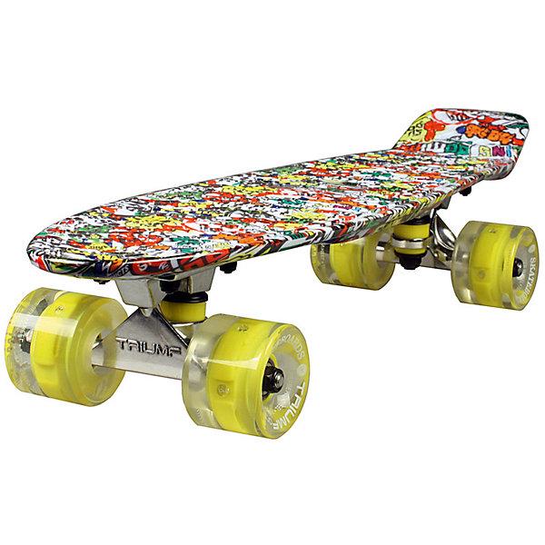 Скейтборд Triumf Active 22 TLS-401G STREETLIGHTСкейтборды и лонгборды<br>Характеристики товара: <br><br>• возраст: от 5 лет;<br>• максимальная нагрузка: 80 кг;<br>• диаметр колес: 60 мм;<br>• материал колес: полиуретан;<br>• жесткость колес: 78А;<br>• размер платформы: 56,5х15 см;<br>• материал платформы: пластик;<br>• светящиеся колеса;<br>• подшипник АВЕС 7;<br>• размер упаковки: 57х13х10 см;<br>• вес упаковки: 1,9 кг.<br><br>Скейтборд Triumf Active 22 TLS-401G Streetlight — популярное средство передвижения по городу, подойдет как для детей и подростков, так и взрослых. Колеса выполнены из полиуретана, они обеспечивают ровное катание и хорошее сцепление  поверхностью, не гремят по асфальту и не скользят на влажном покрытии. Колеса светятся, делая катание намного эффектней.<br><br>Подшипники обеспечивают хороший накат и высокую скорость. Платформа выполнена из прочного пластика. Поверхность деки рифленая, она препятствует соскальзыванию ног во время езды. <br><br>Скейтборд Triumf Active 22 TLS-401G Streetlight можно приобрести в нашем интернет-магазине.<br>Ширина мм: 570; Глубина мм: 130; Высота мм: 100; Вес г: 1900; Цвет: красный; Возраст от месяцев: 60; Возраст до месяцев: 2147483647; Пол: Унисекс; Возраст: Детский; SKU: 7925427;