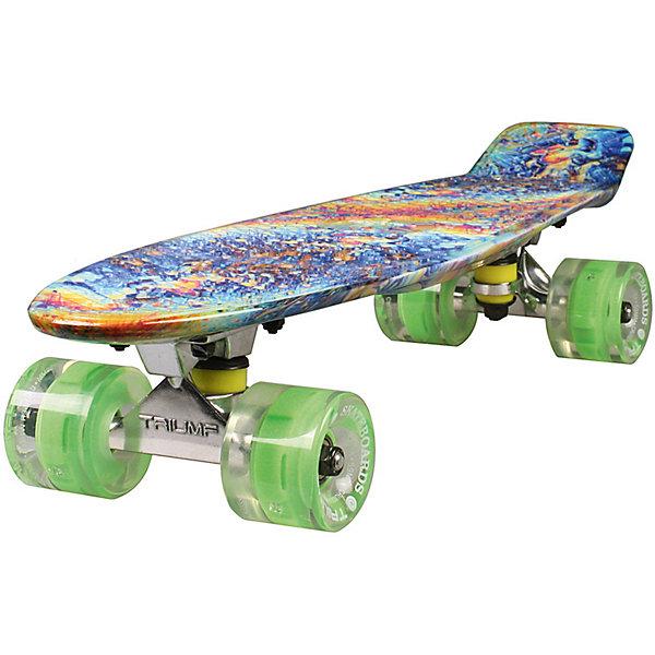 Скейтборд Triumf Active 22 TLS-401G FIREWAVEСкейтборды и лонгборды<br>Характеристики товара: <br><br>• возраст: от 5 лет;<br>• максимальная нагрузка: 80 кг;<br>• диаметр колес: 60 мм;<br>• материал колес: полиуретан;<br>• жесткость колес: 78А;<br>• размер платформы: 56,5х15 см;<br>• материал платформы: пластик;<br>• светящиеся колеса;<br>• подшипник АВЕС 7;<br>• размер упаковки: 57х13х10 см;<br>• вес упаковки: 1,9 кг.<br><br>Скейтборд Triumf Active 22 TLS-401G Firewave — популярное средство передвижения по городу, подойдет как для детей и подростков, так и взрослых. Колеса выполнены из полиуретана, они обеспечивают ровное катание и хорошее сцепление  поверхностью, не гремят по асфальту и не скользят на влажном покрытии. Колеса светятся, делая катание намного эффектней.<br><br>Подшипники обеспечивают хороший накат и высокую скорость. Платформа выполнена из прочного пластика. Поверхность деки рифленая, она препятствует соскальзыванию ног во время езды. <br><br>Скейтборд Triumf Active 22 TLS-401G Firewave можно приобрести в нашем интернет-магазине.<br>Ширина мм: 570; Глубина мм: 130; Высота мм: 100; Вес г: 1900; Цвет: красный; Возраст от месяцев: 60; Возраст до месяцев: 2147483647; Пол: Унисекс; Возраст: Детский; SKU: 7925429;