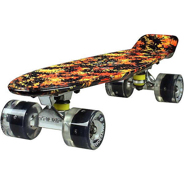 Скейтборд Triumf Active 22 TLS-401G PALM BEACHСкейтборды и лонгборды<br>Характеристики товара: <br><br>• возраст: от 5 лет;<br>• максимальная нагрузка: 80 кг;<br>• диаметр колес: 60 мм;<br>• материал колес: полиуретан;<br>• жесткость колес: 78А;<br>• размер платформы: 56,5х15 см;<br>• материал платформы: пластик;<br>• светящиеся колеса;<br>• подшипник АВЕС 7;<br>• размер упаковки: 57х13х10 см;<br>• вес упаковки: 1,9 кг.<br><br>Скейтборд Triumf Active 22 TLS-401G Palm Beach — популярное средство передвижения по городу, подойдет как для детей и подростков, так и взрослых. Колеса выполнены из полиуретана, они обеспечивают ровное катание и хорошее сцепление  поверхностью, не гремят по асфальту и не скользят на влажном покрытии. Колеса светятся, делая катание намного эффектней.<br><br>Подшипники обеспечивают хороший накат и высокую скорость. Платформа выполнена из прочного пластика. Поверхность деки рифленая, она препятствует соскальзыванию ног во время езды. <br><br>Скейтборд Triumf Active 22 TLS-401G Palm Beach можно приобрести в нашем интернет-магазине.<br>Ширина мм: 570; Глубина мм: 130; Высота мм: 100; Вес г: 1900; Цвет: красный; Возраст от месяцев: 60; Возраст до месяцев: 2147483647; Пол: Унисекс; Возраст: Детский; SKU: 7925433;